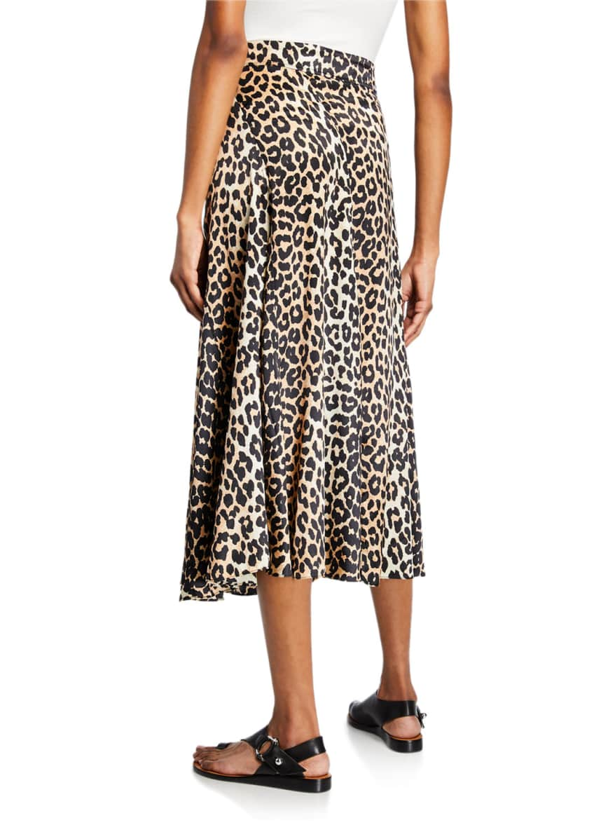 Image 2 of 3: Leopard-Print Stretch-Silk Skirt
