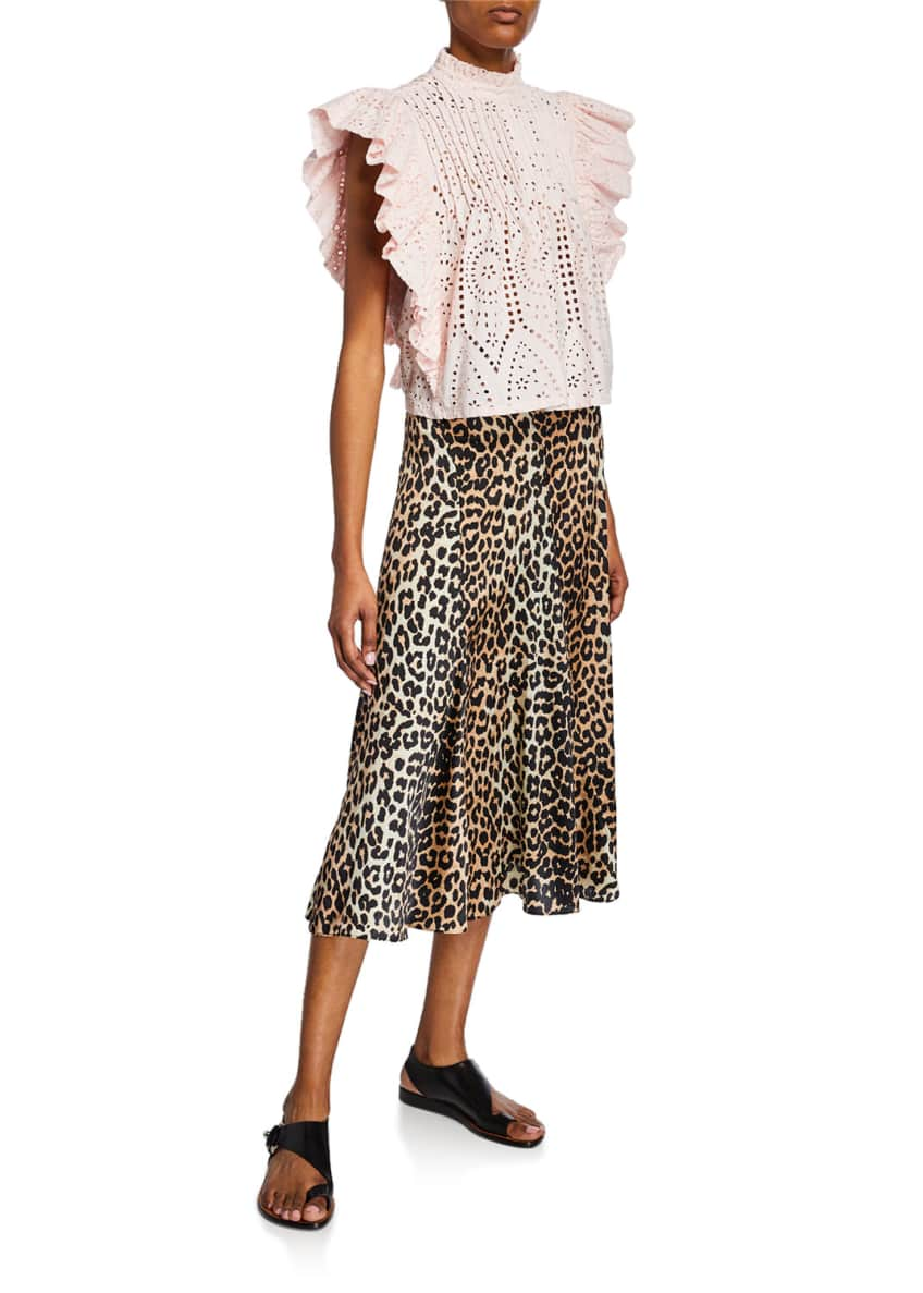 Image 3 of 3: Leopard-Print Stretch-Silk Skirt
