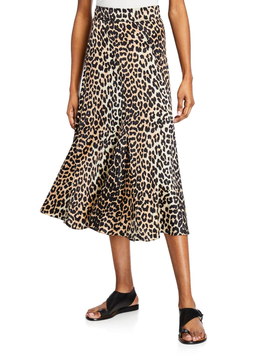 Image 1 of 3: Leopard-Print Stretch-Silk Skirt