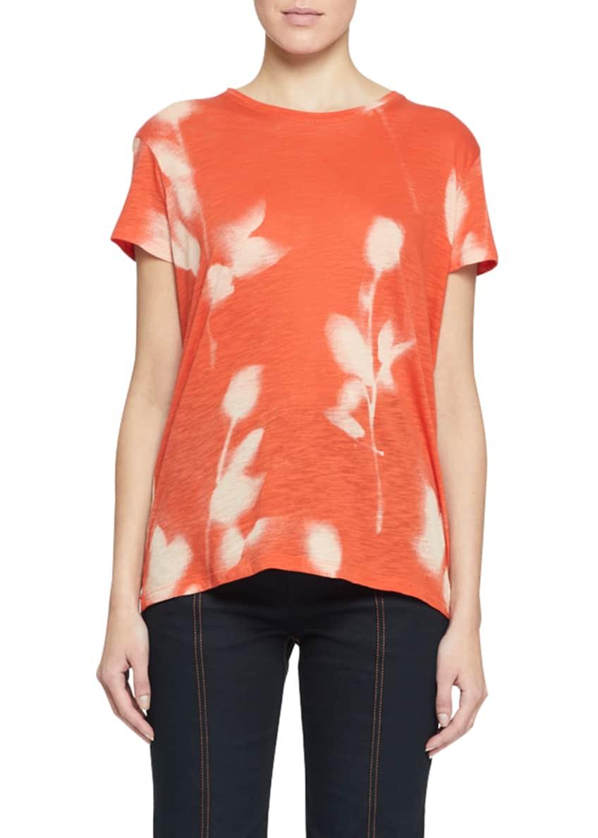 Proenza Schouler Short-Sleeve Rose-Print Tissue Tee & Matching