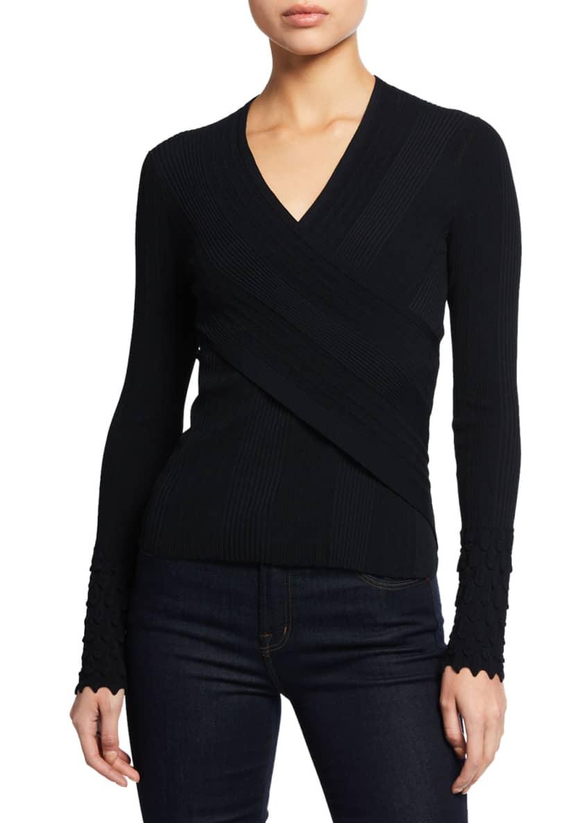Elie Tahari Madeline V-Neck Long-Sleeve Surplice Sweater &
