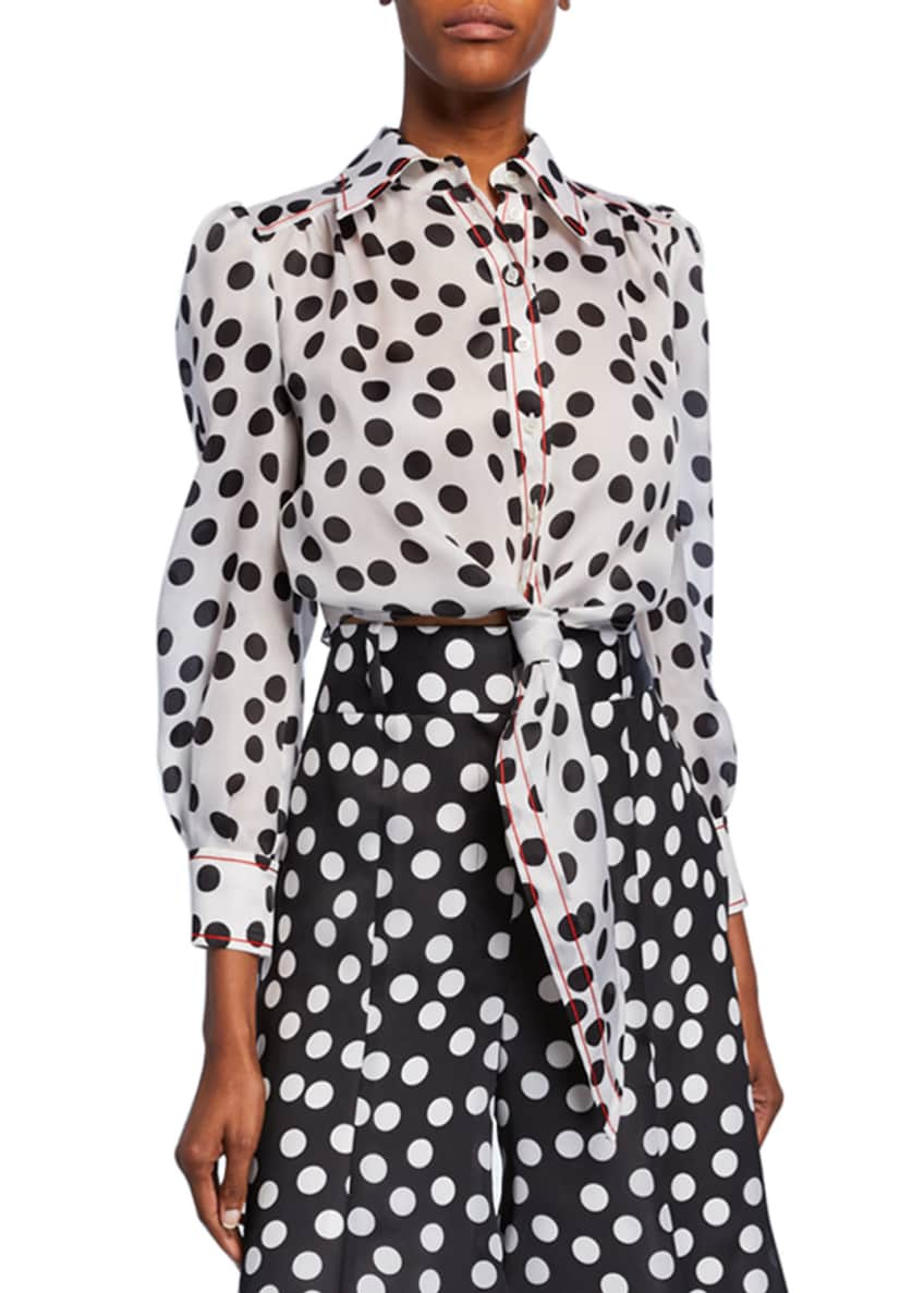 Carolina Herrera Polka-Dot Long-Sleeve Cropped Shirt & Matching