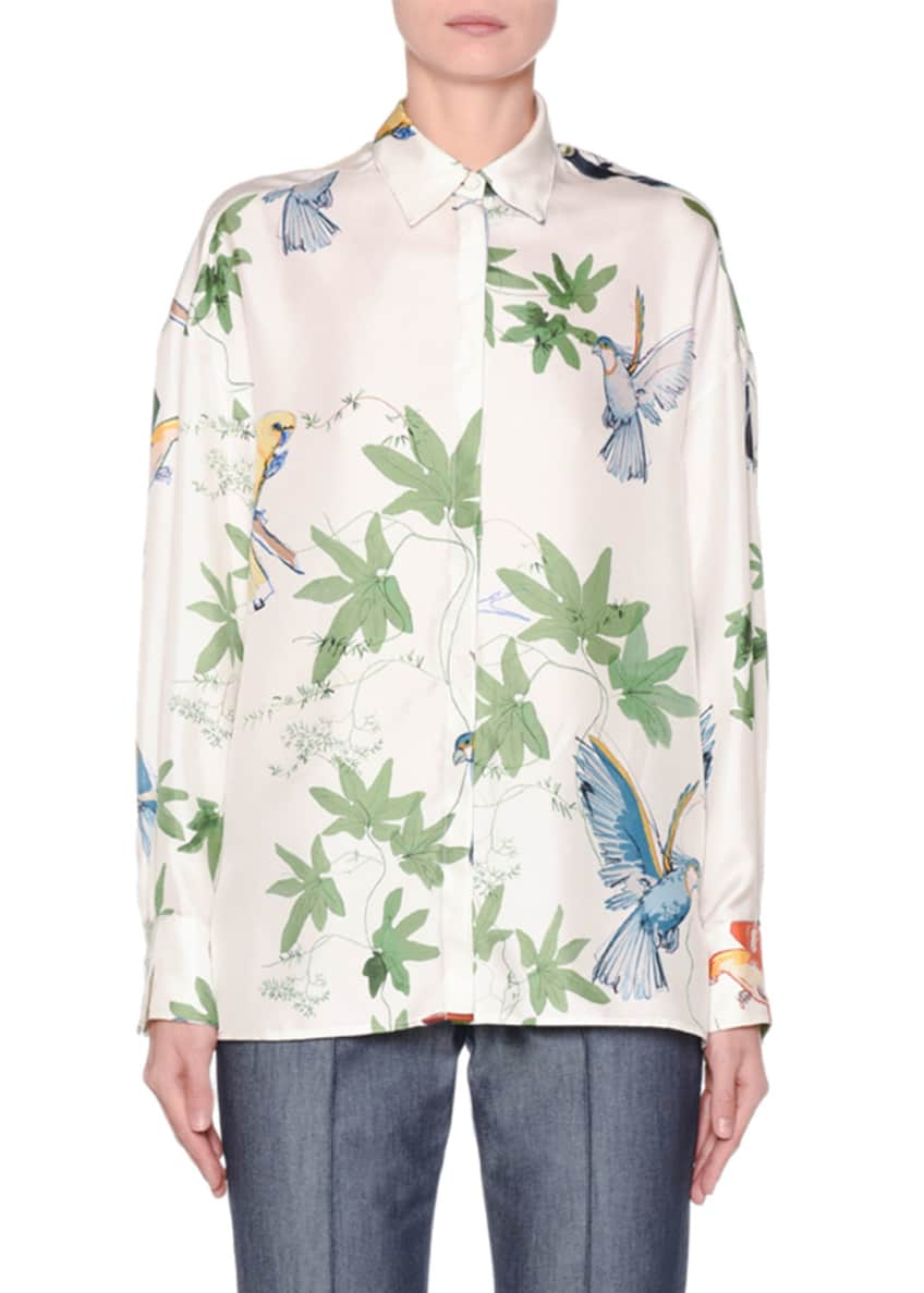 Agnona Long-Sleeve Botanical-Print Button-Front Shirt & Matching