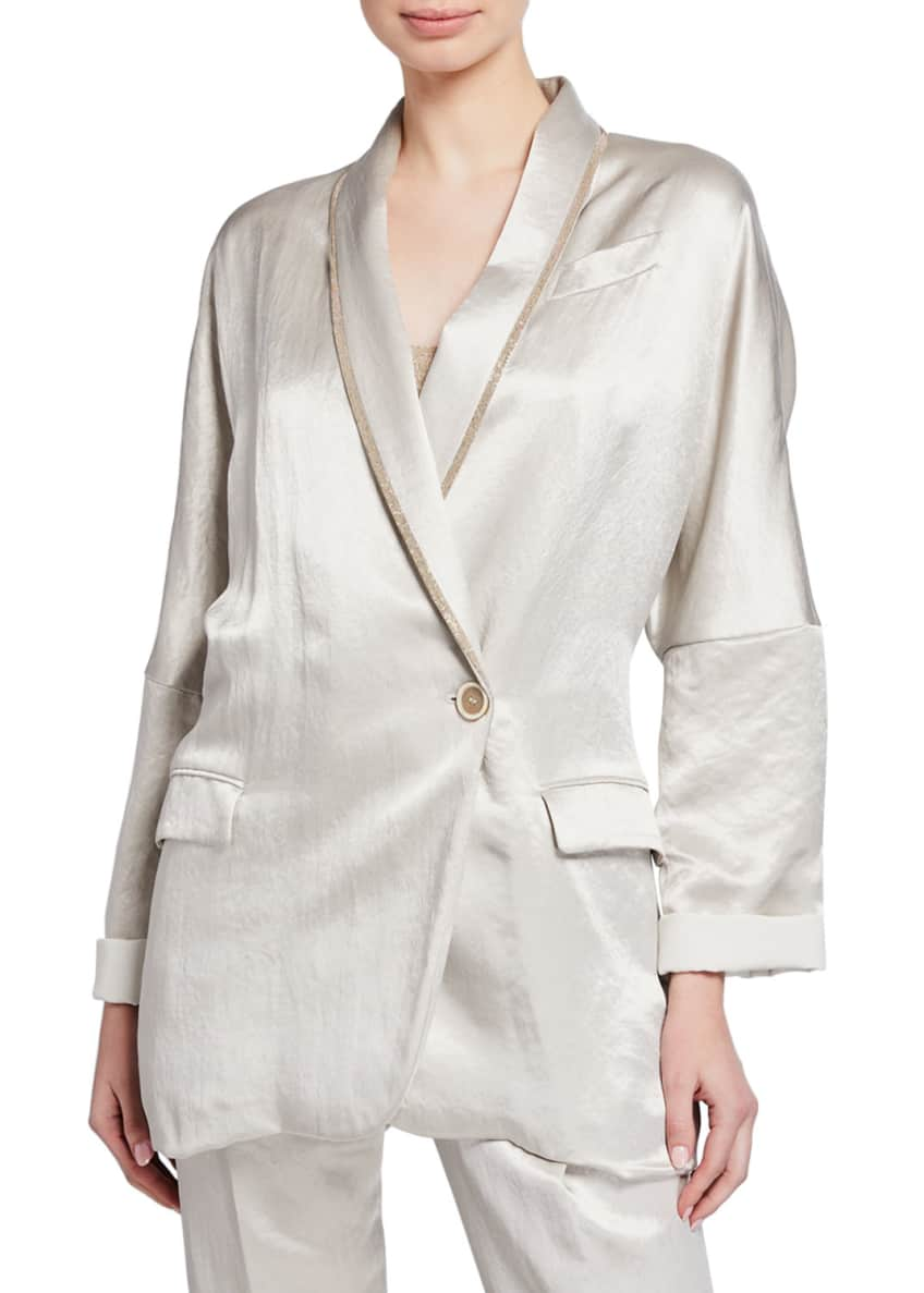 Brunello Cucinelli Textured Satin Double-Breasted Blazer &