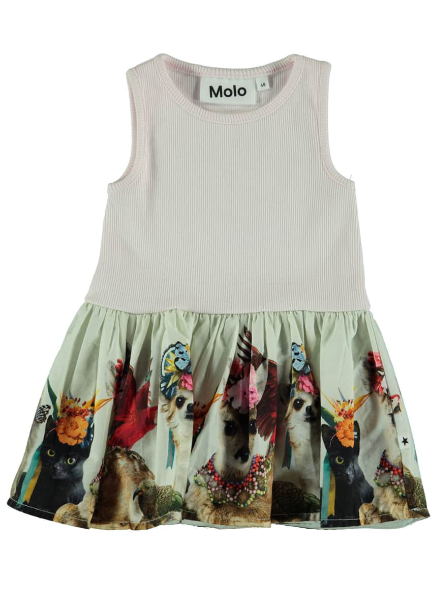 Molo Cordelia Ribbed Dress w/ Animal-Print Skirt, Size