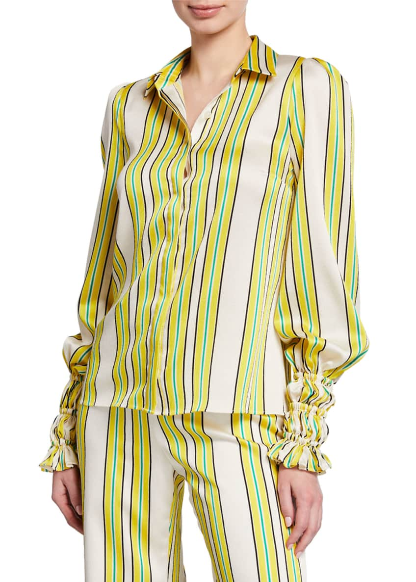 Alexis Catina Striped Button-Front Long-Sleeve Satin Top &