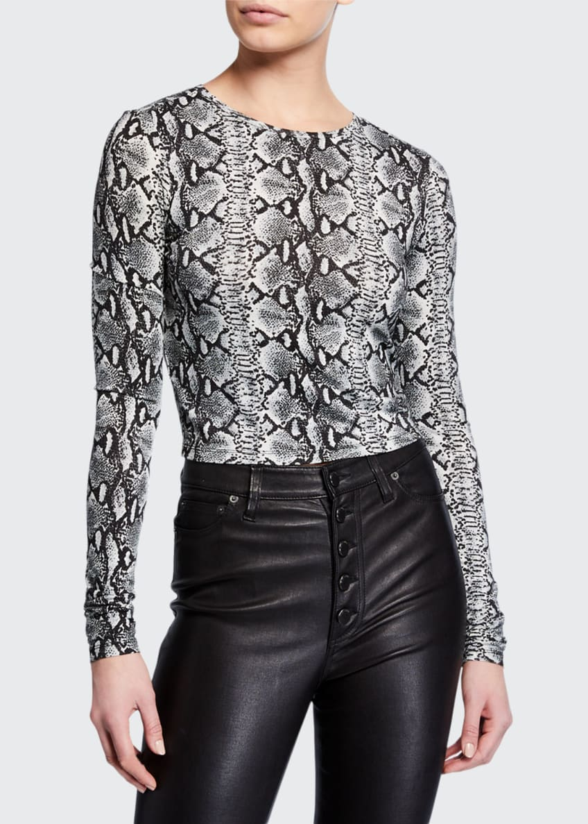 Alice + Olivia Mikah Leather High-Rise Button-Front Pants