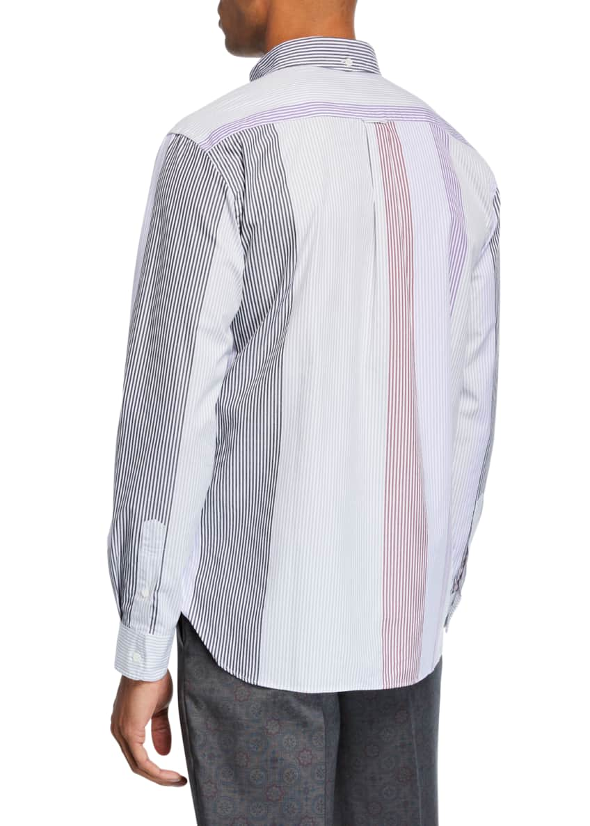 Image 2 of 3: Men's Multi-Stripe Poplin Sport Shirt