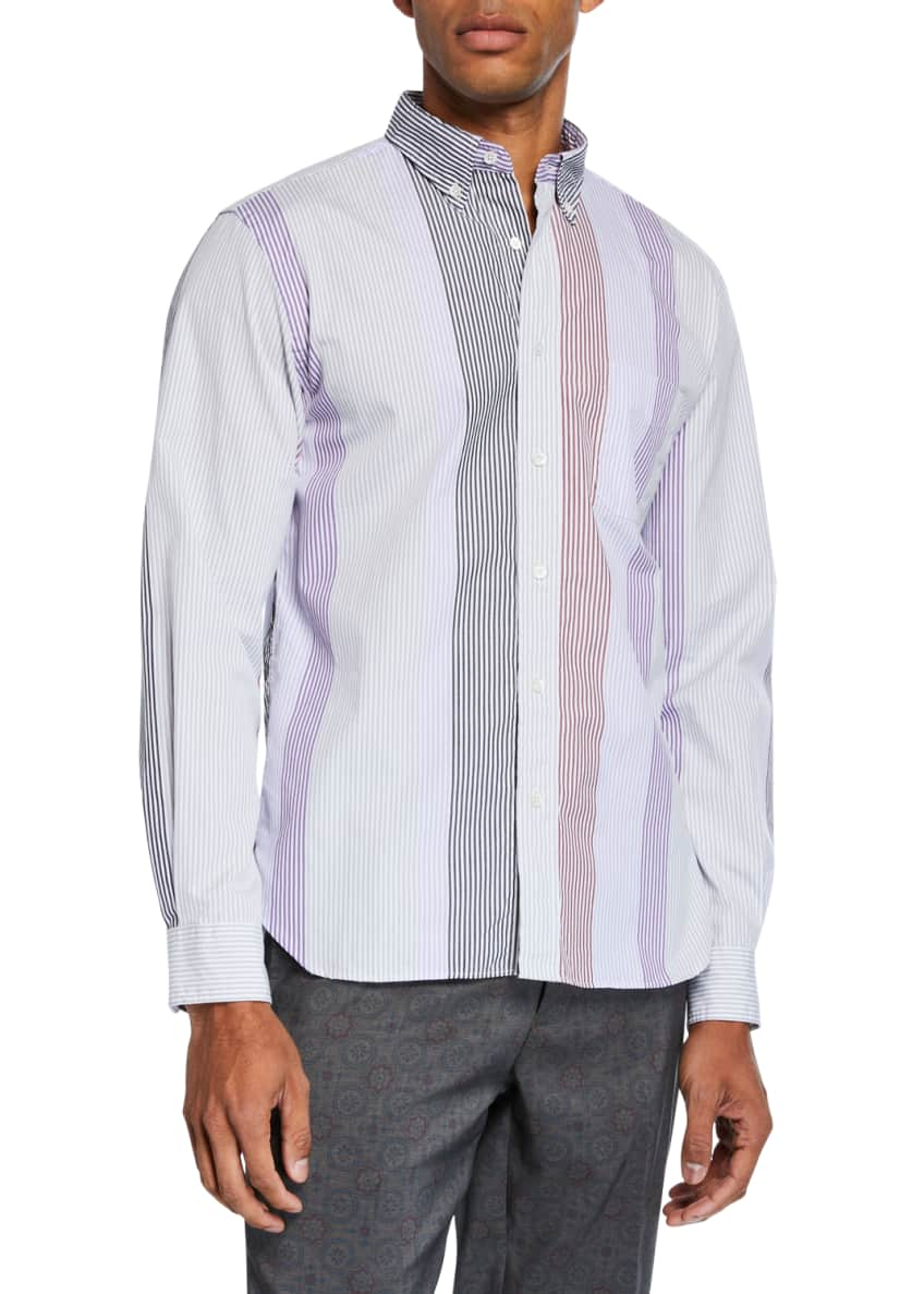 Image 1 of 3: Men's Multi-Stripe Poplin Sport Shirt