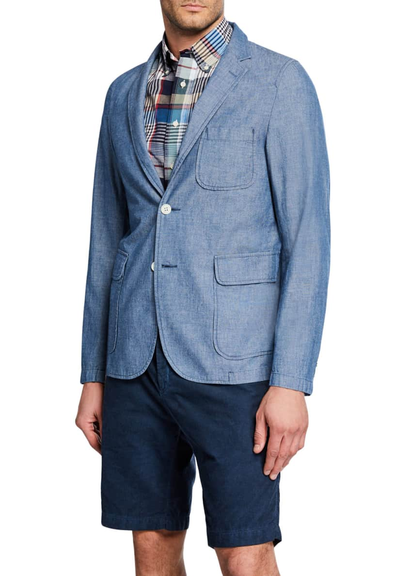 Beams Plus Men's Unconstructed Chambray Sport Jacket &