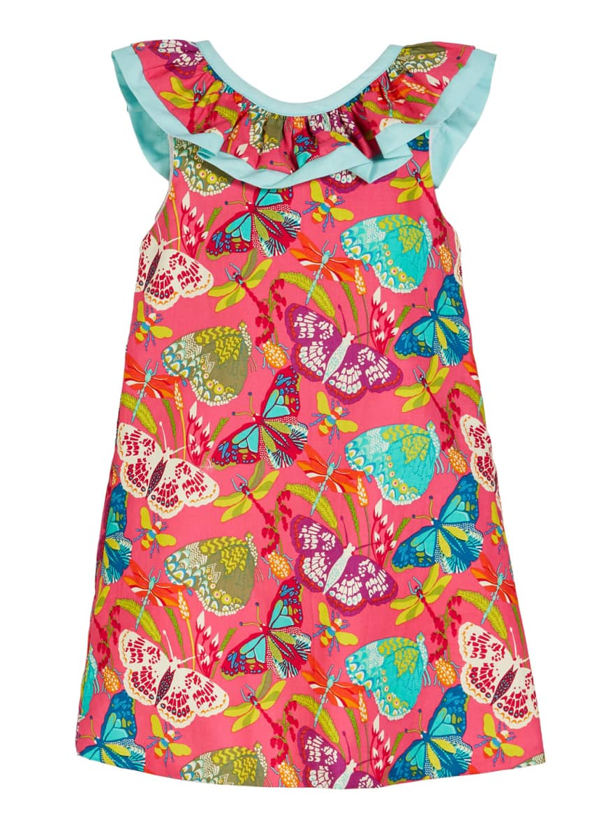 Susanne Lively Butterfly Print Ruffle Collar Dress, Size