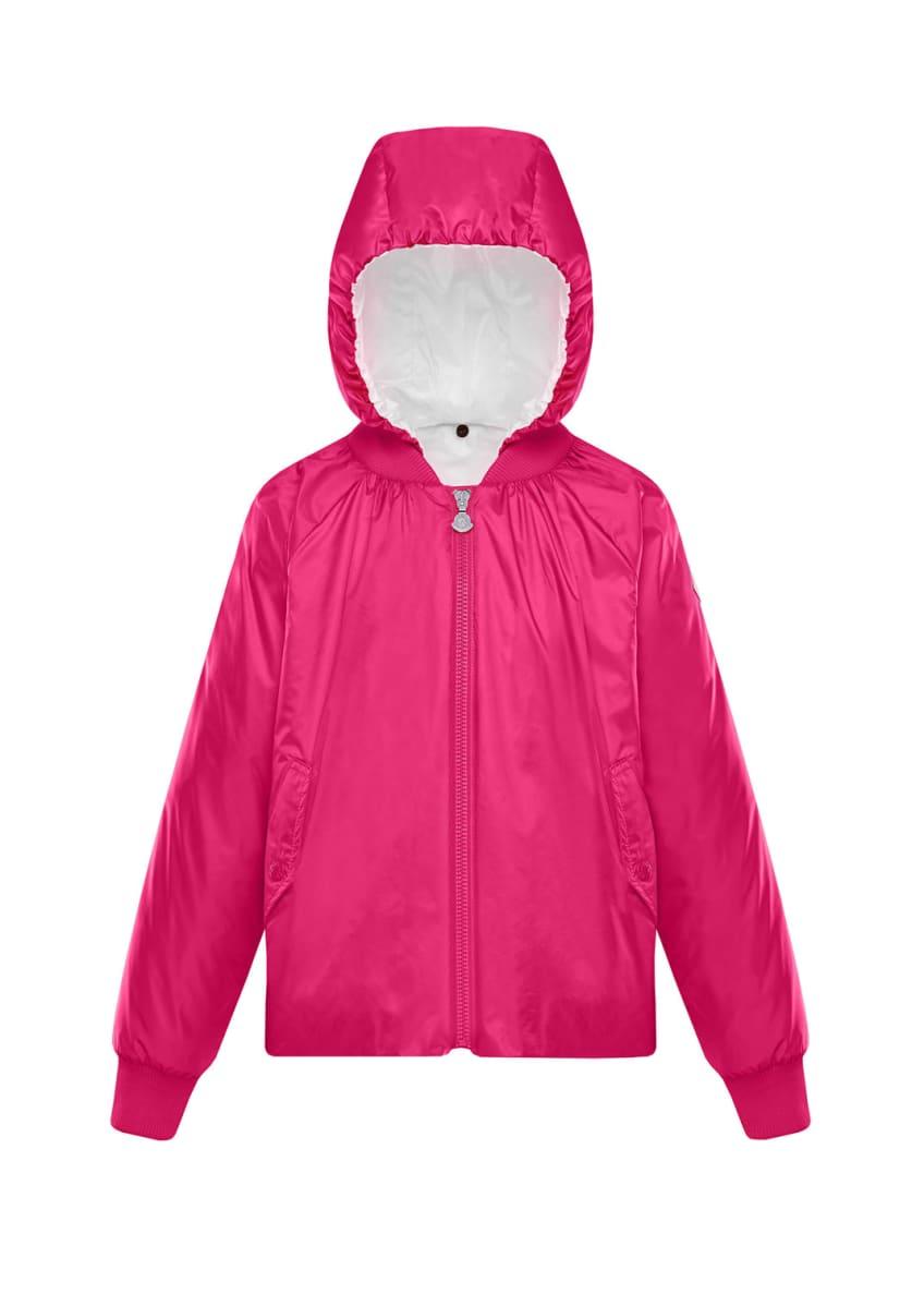 Moncler Nylon Hooded Bomber Jacket, Size 4-6 &