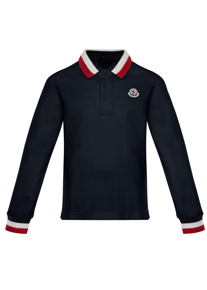 Moncler Long-Sleeve Polo Half-Button Shirt, Size 4-6
