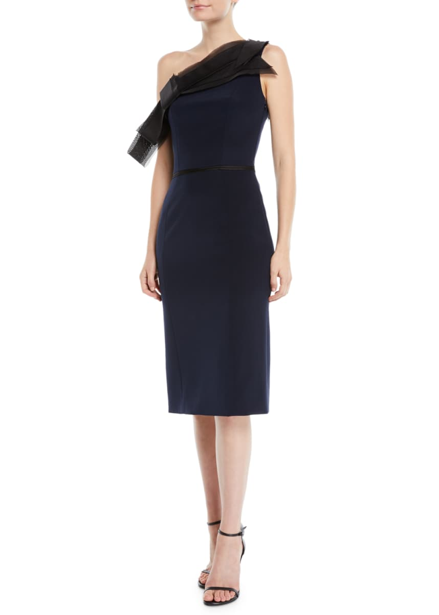Atelier Caito for Herve Pierre One-Shoulder Organza-Bow Silk Crepe Sheath Cocktail Dress