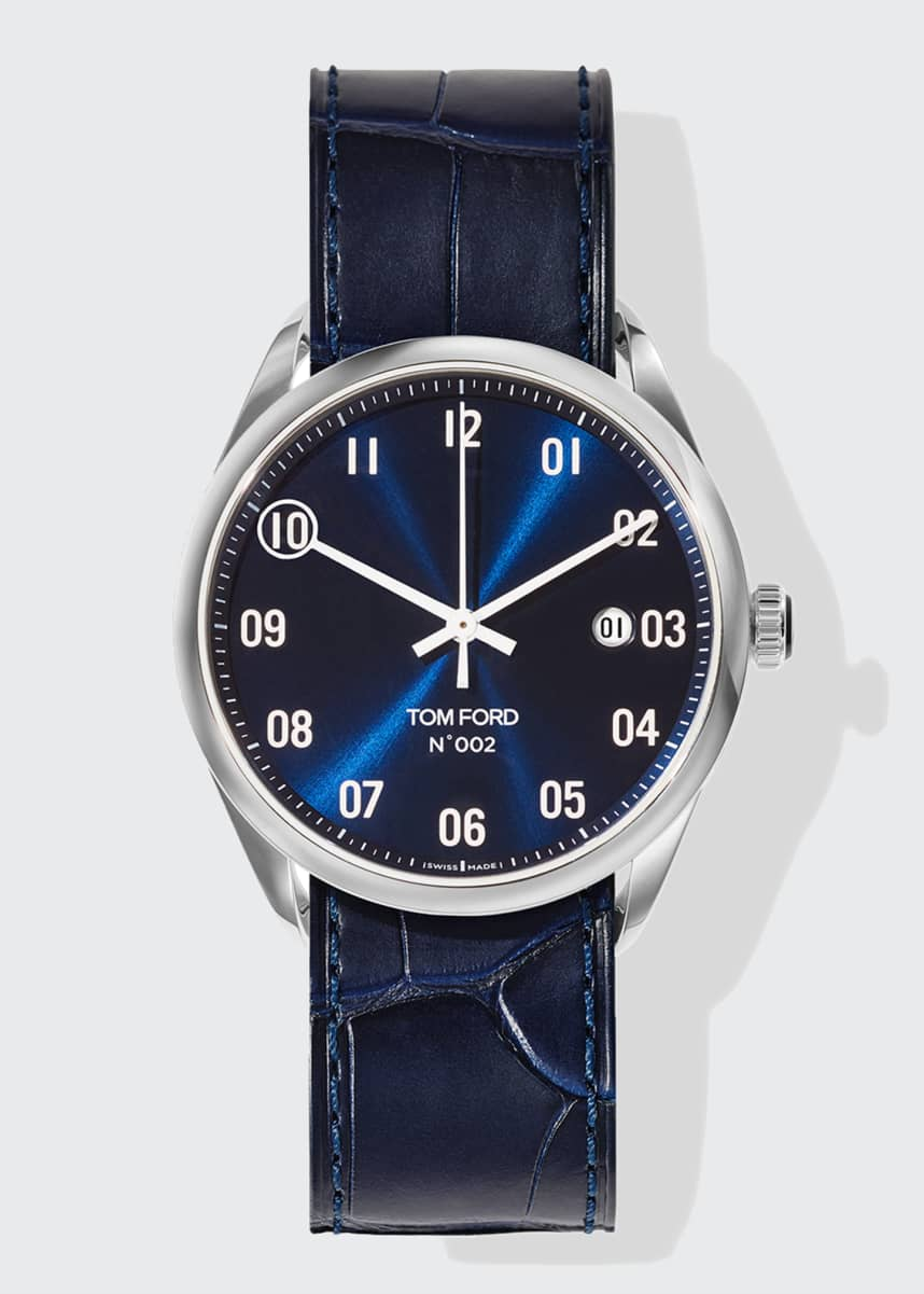 TOM FORD TIMEPIECES N.002 40mm Round Leather Watch, Blue