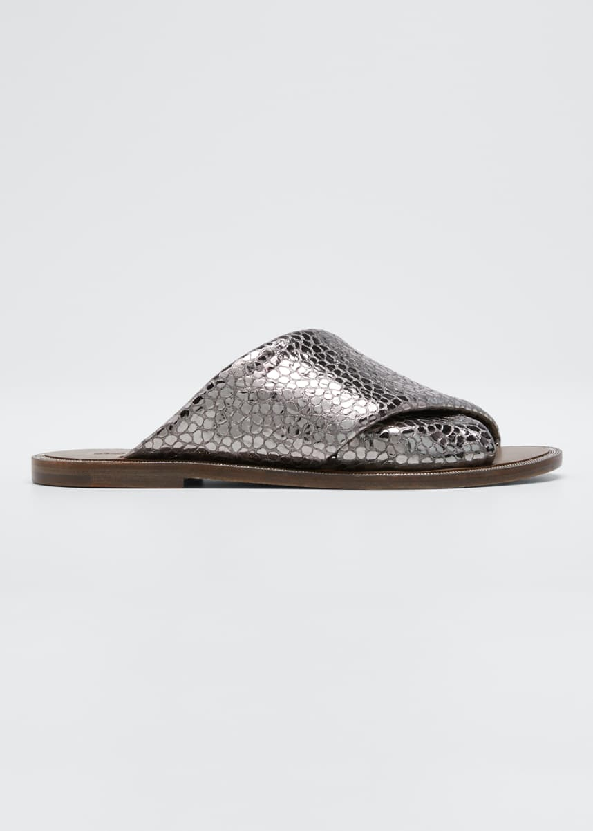 Brunello Cucinelli Flat Textured Leather Slide Sandals