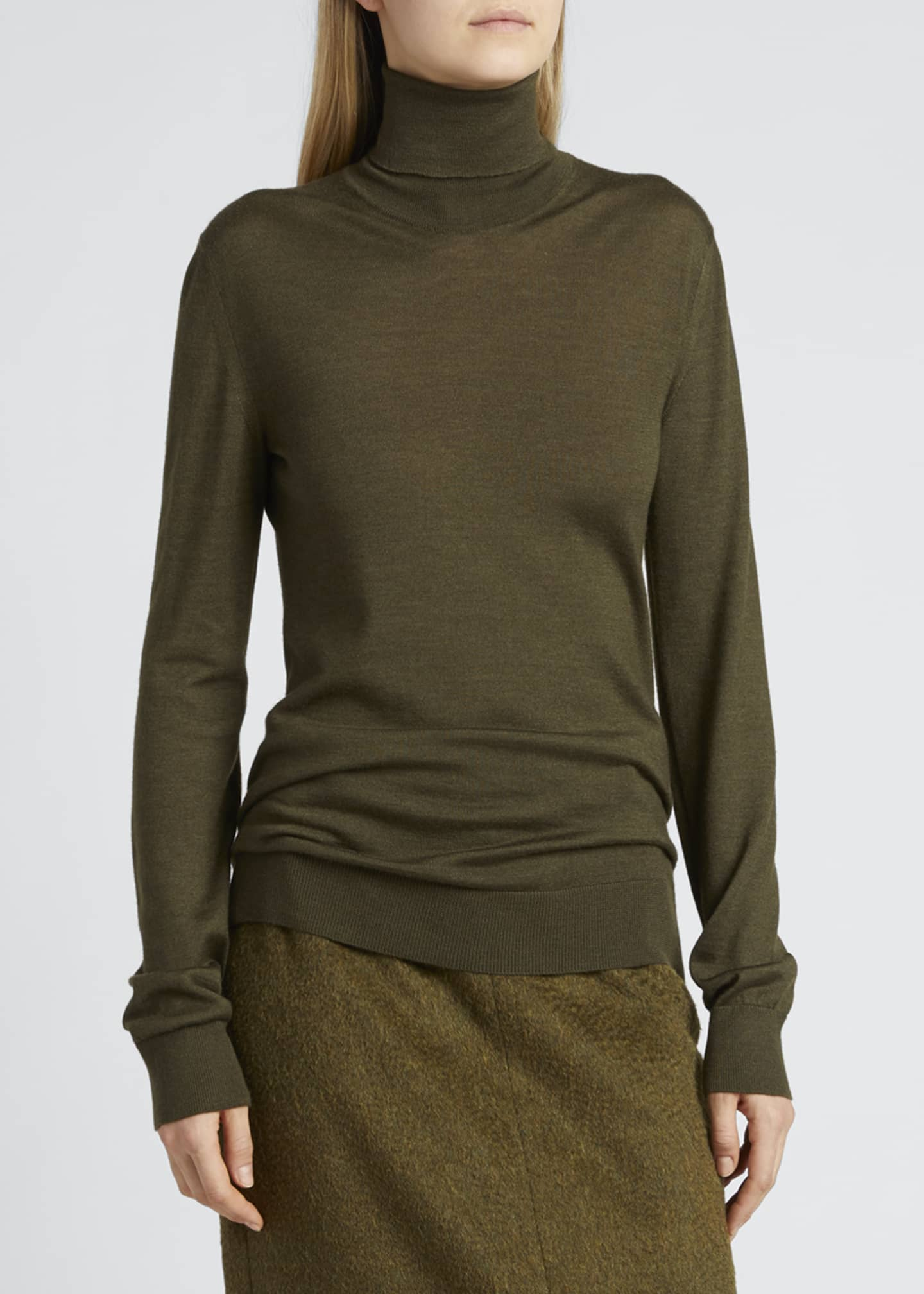 THE ROW Demme Turtleneck Cashmere-Silk Sweater   Bergdorf Goodman