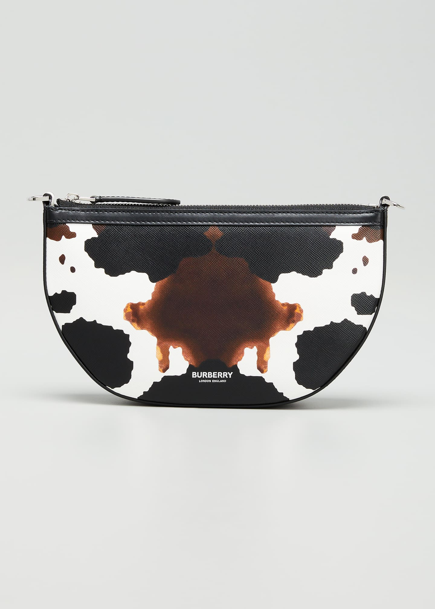 Image 1 of 5: Olympia Cow-Print Leather Pouch Bag