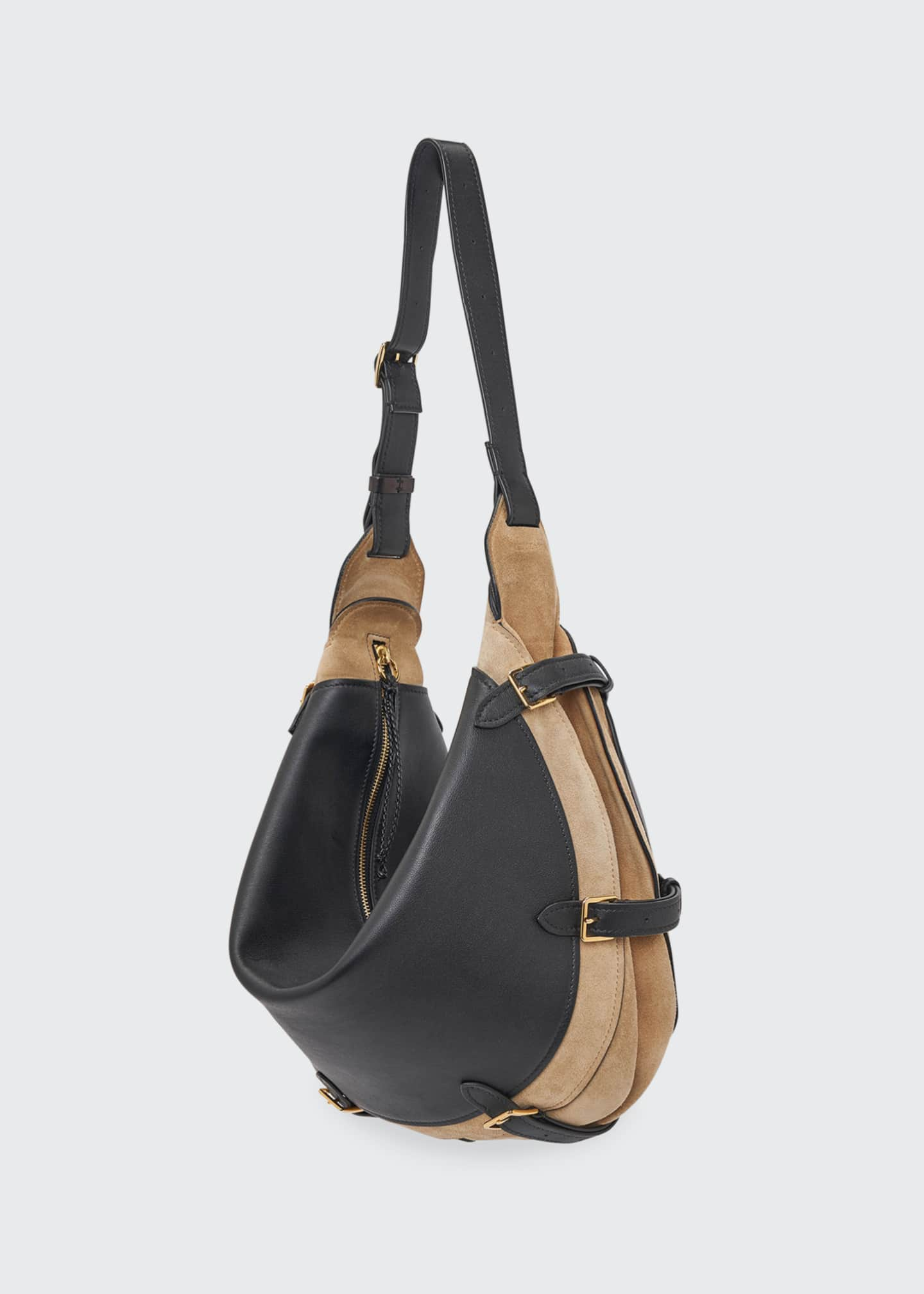 Image 1 of 4: Play Bicolor Mixed Leather Buckle Crossbody Bag