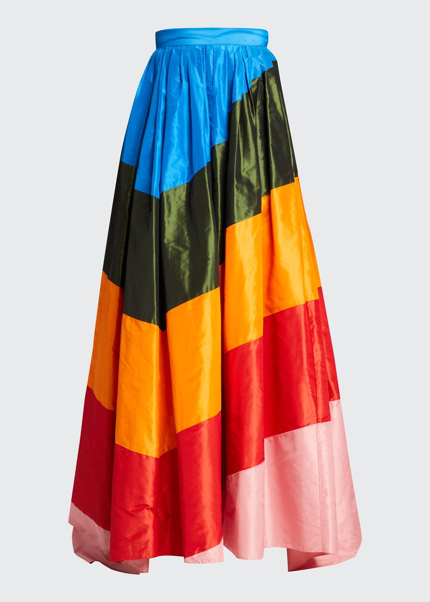 Image 5 of 5: Rainbow Diagonal-Striped Ball Skirt