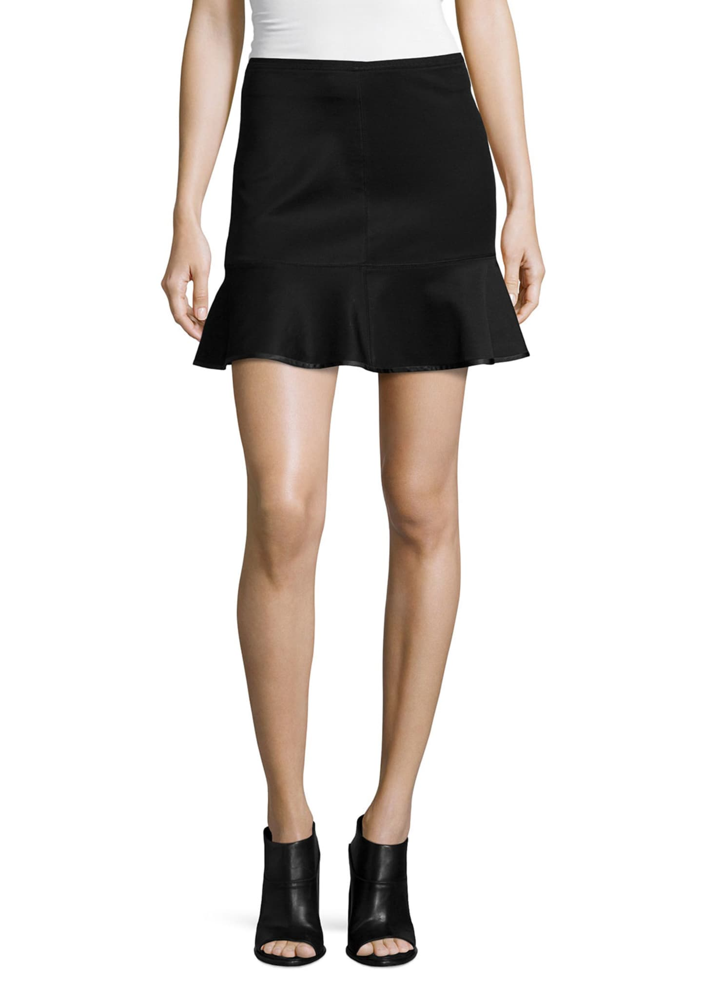 Rag & Bone Brianna Ruffle-Hem Mini Skirt, Black