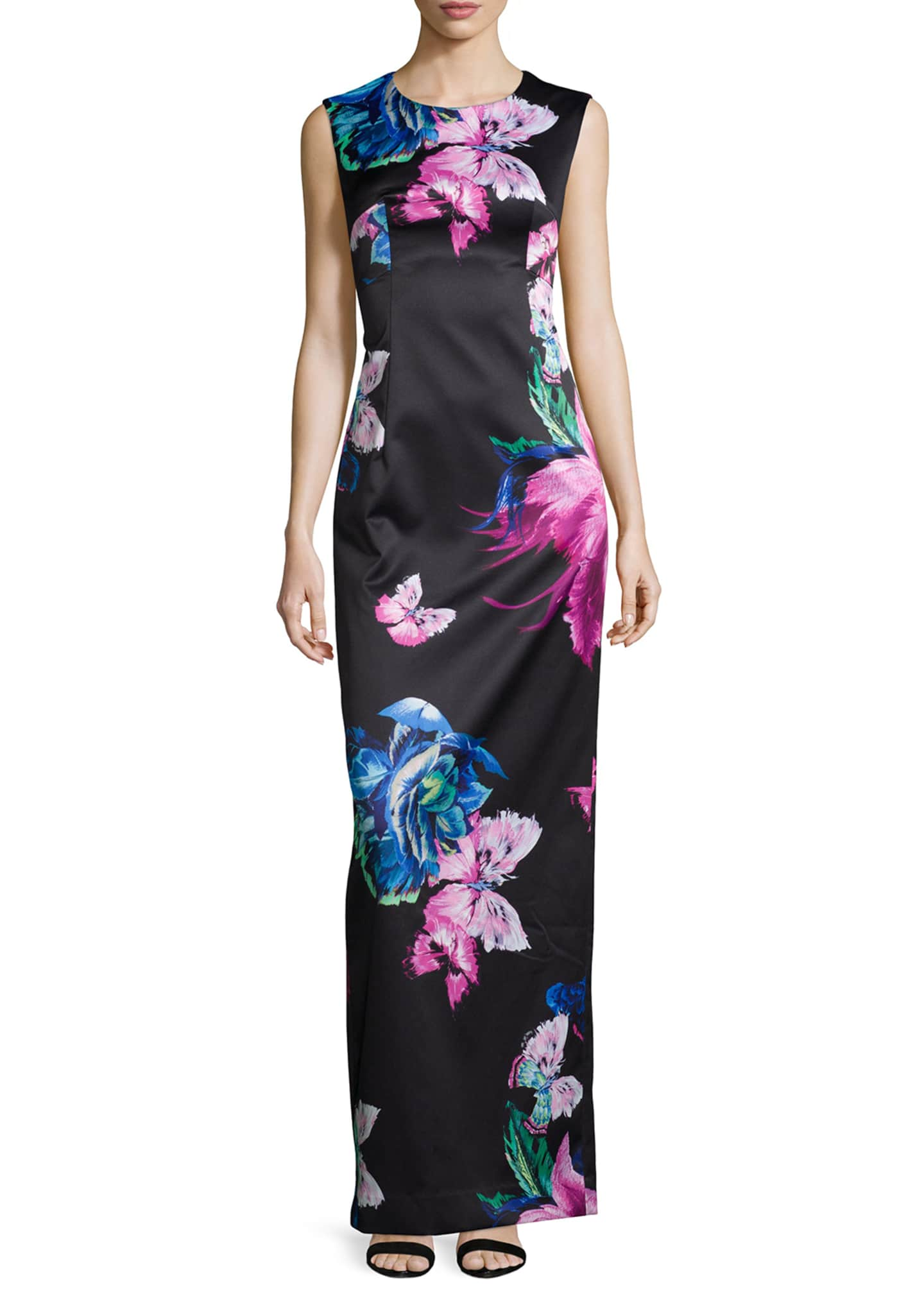 Milly Dita Butterfly-Print Column Gown
