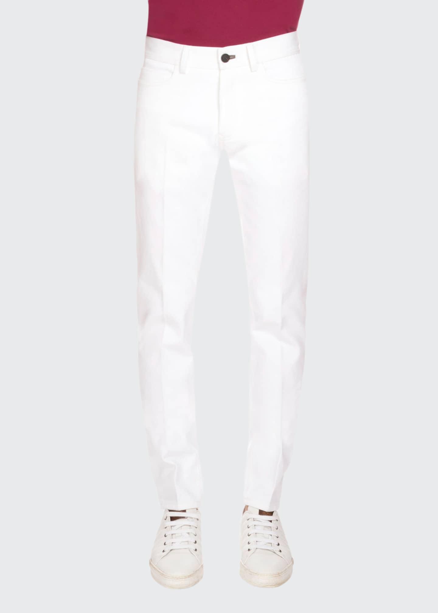 Berluti Five-Pocket Denim Jeans, Optical White