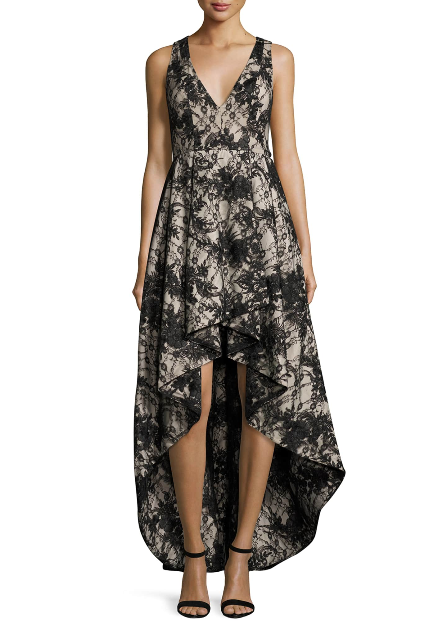 Alice + Olivia Sleeveless Lace High-Low Cocktail Dress,