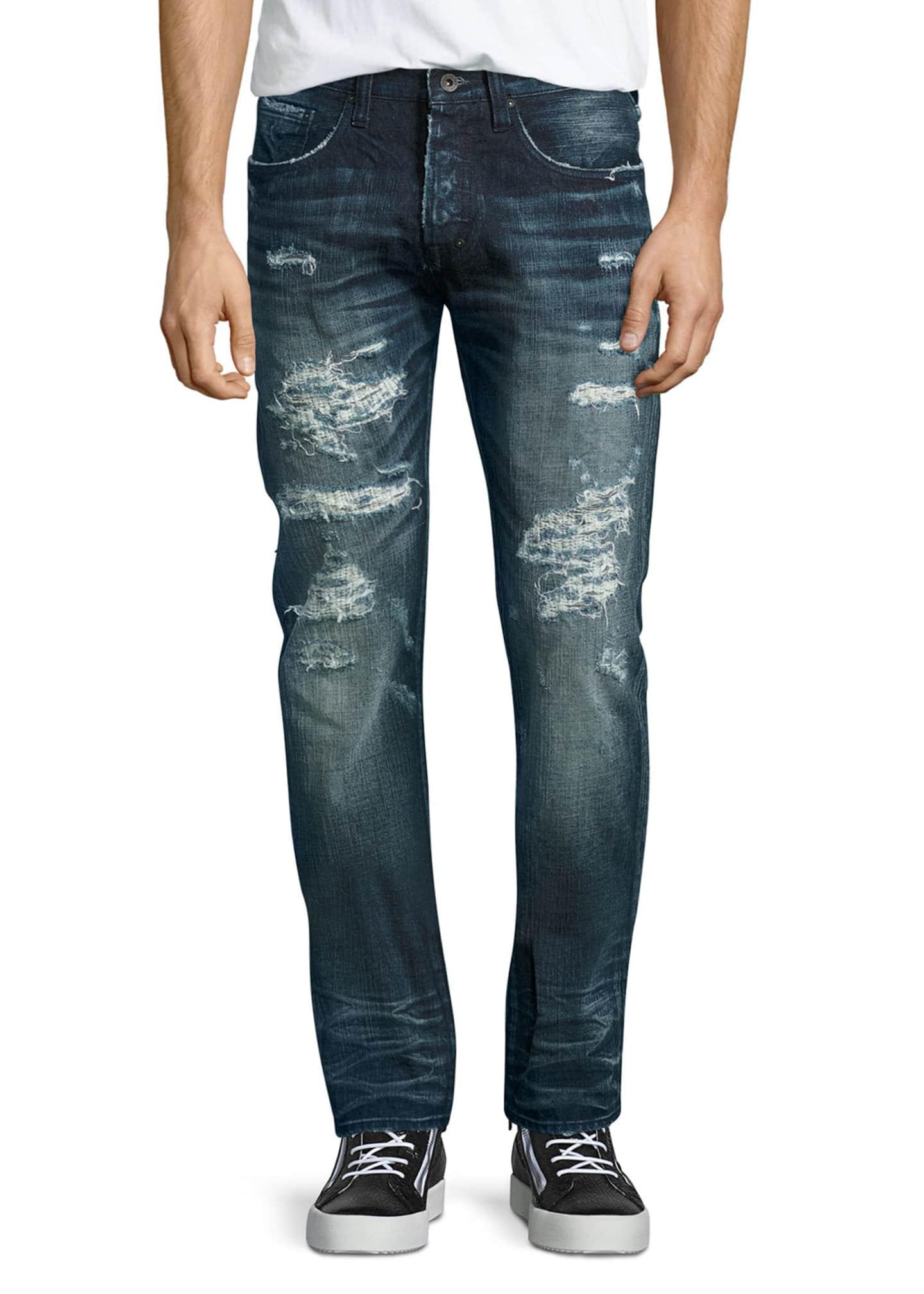 PRPS Demon Distressed Technics Denim Jeans, Dark Indigo