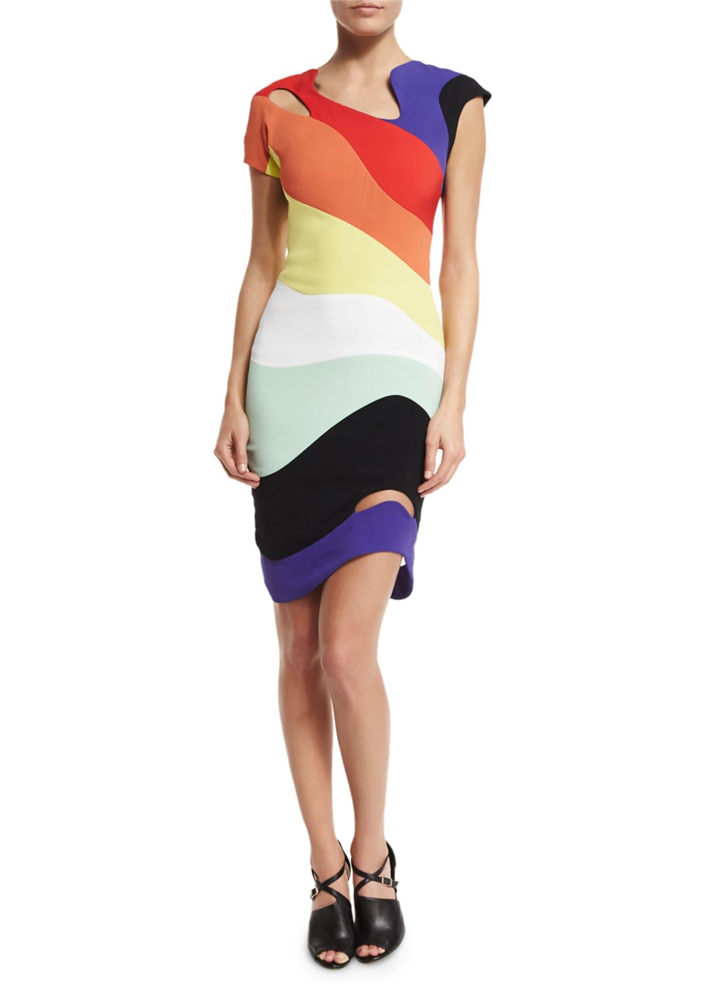 Thierry Mugler Asymmetric Rainbow Cady Dress, Multi