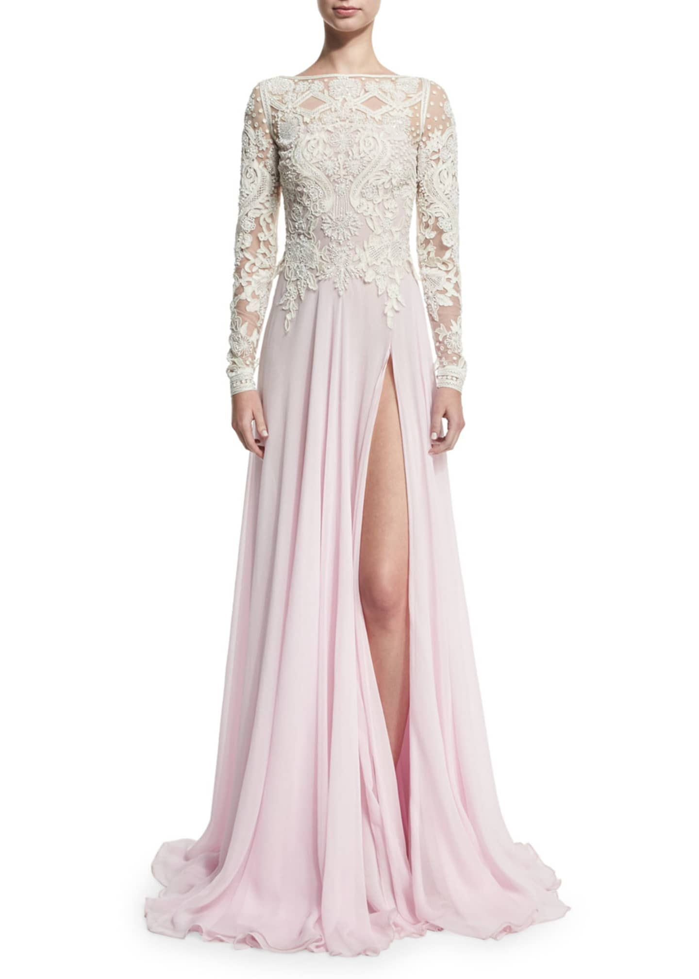 Naeem Khan Long-Sleeve Beaded Lace & Chiffon Gown,