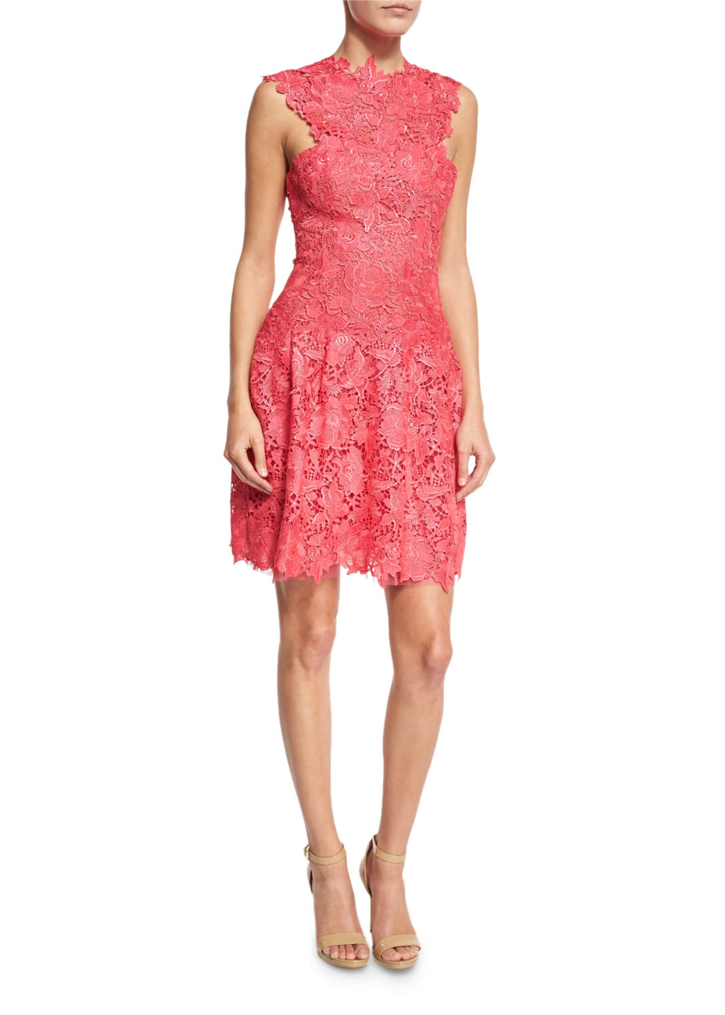 Monique Lhuillier Sleeveless Guipure Lace Cocktail Dress, Red