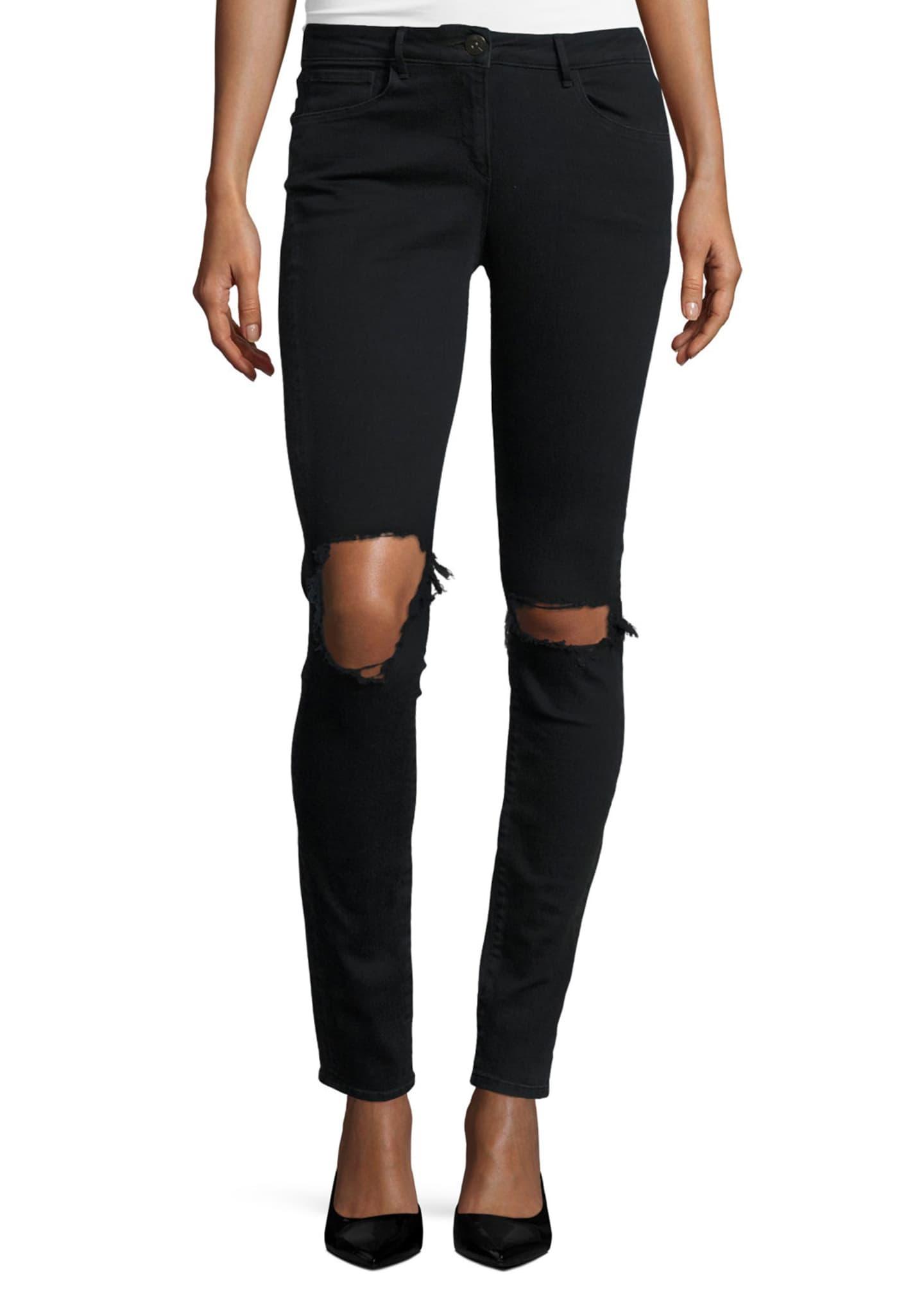 3x1 W2 Mid-Rise Distressed Skinny Jeans, Black Fade