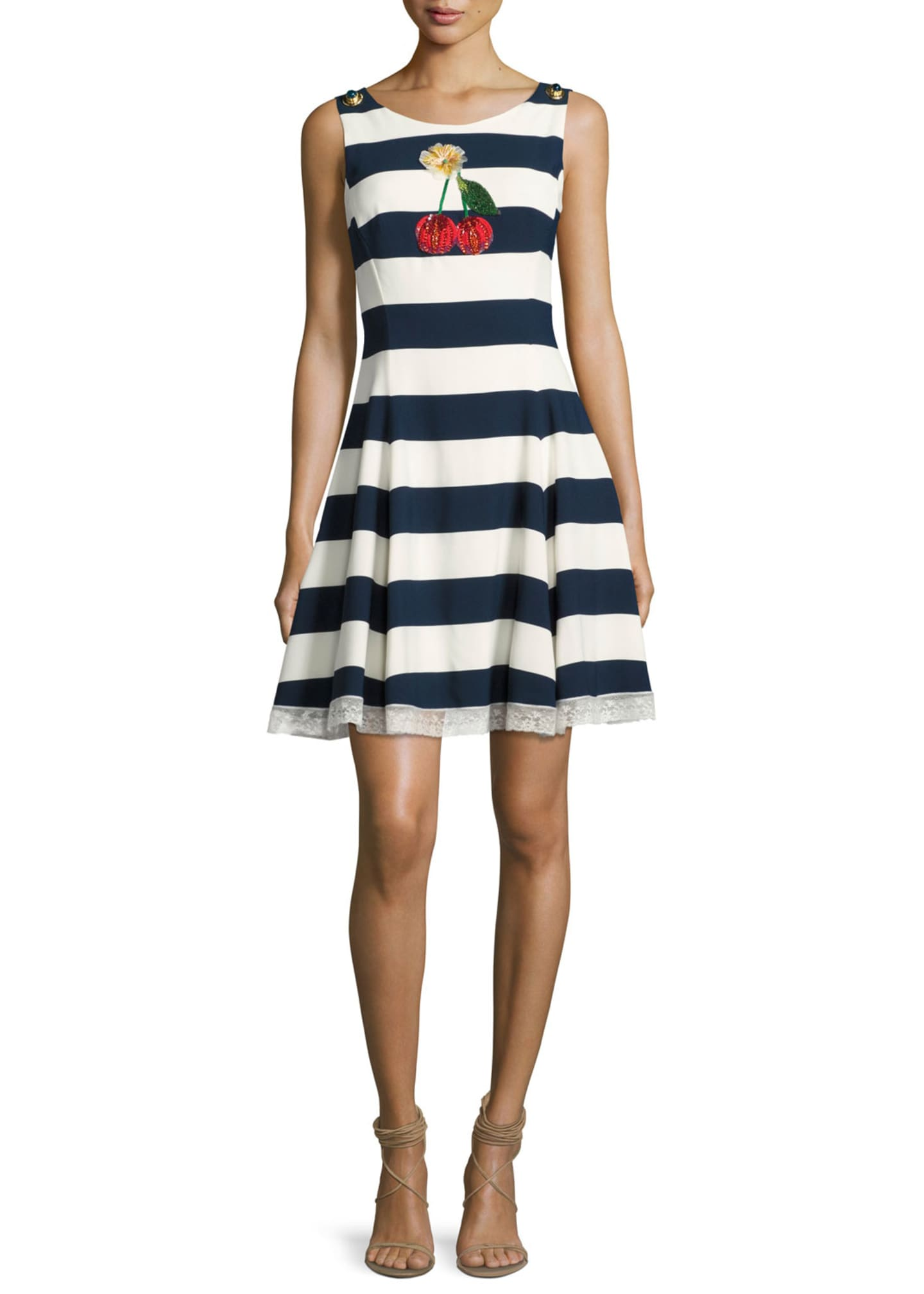 Dolce & Gabbana Cherry-Embroidered Striped A-Line Dress,