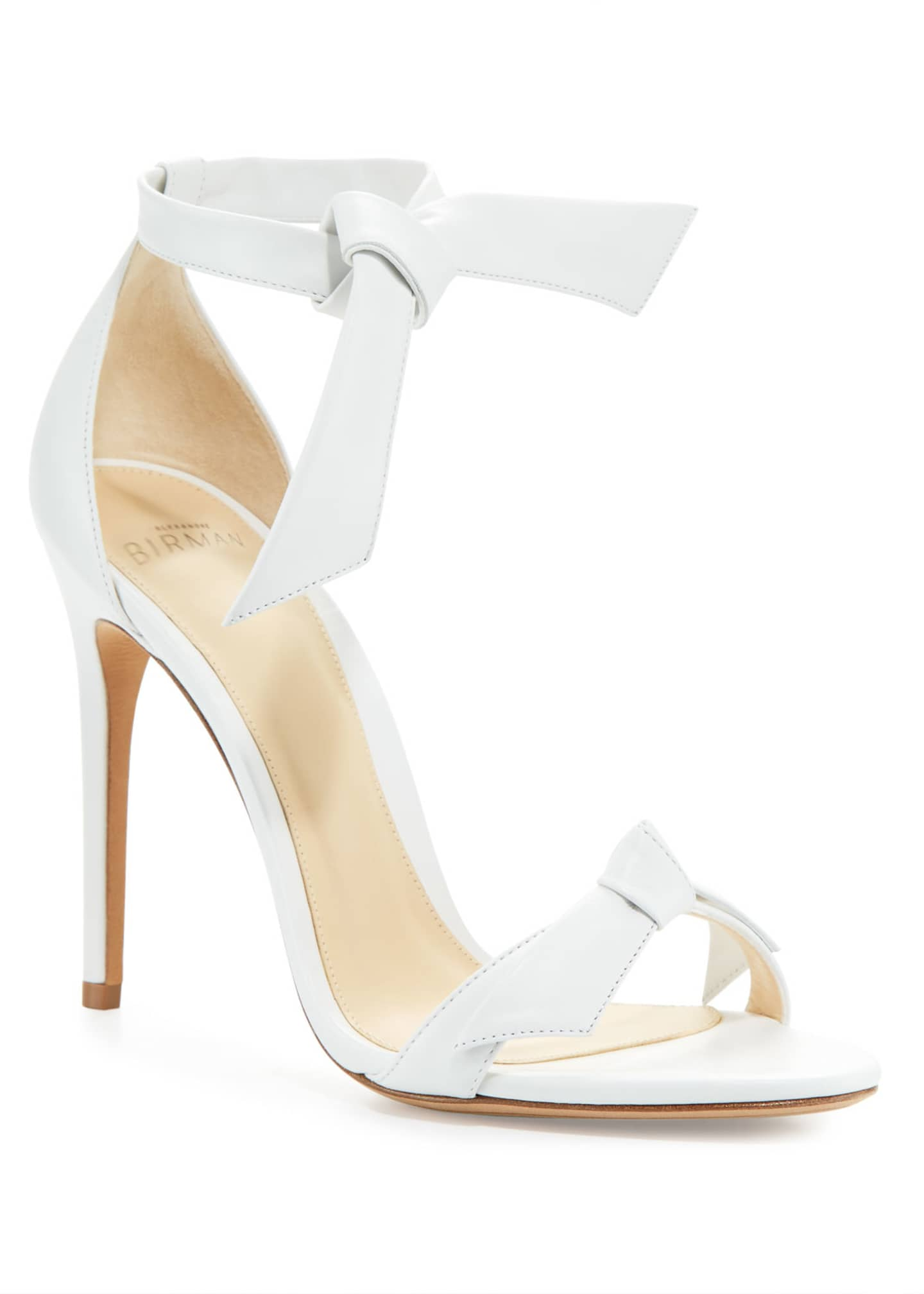 Alexandre Birman Clarita Knotted Leather Sandal, White