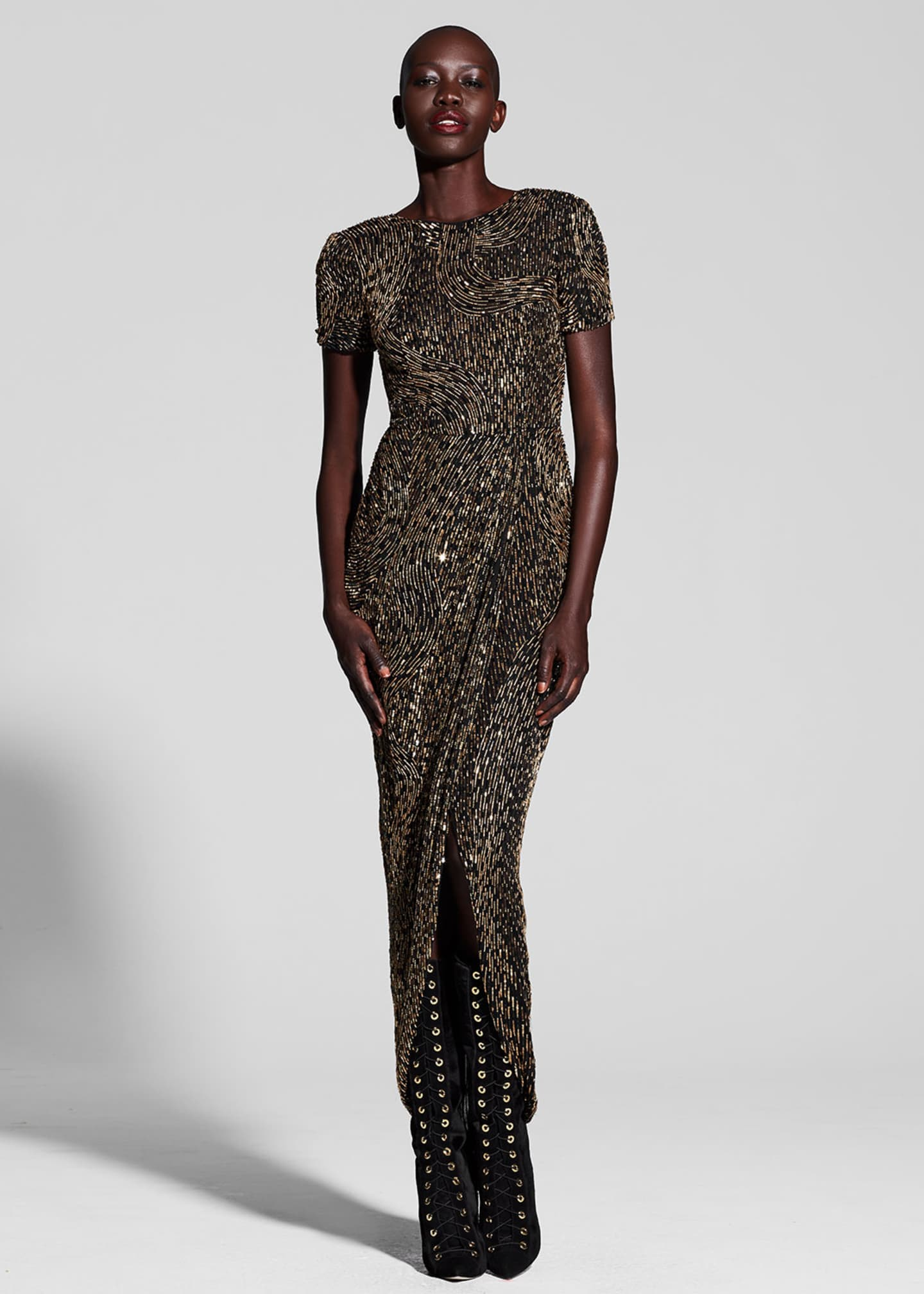 J. Mendel Metallic Beaded Short-Sleeve Gown, Multi