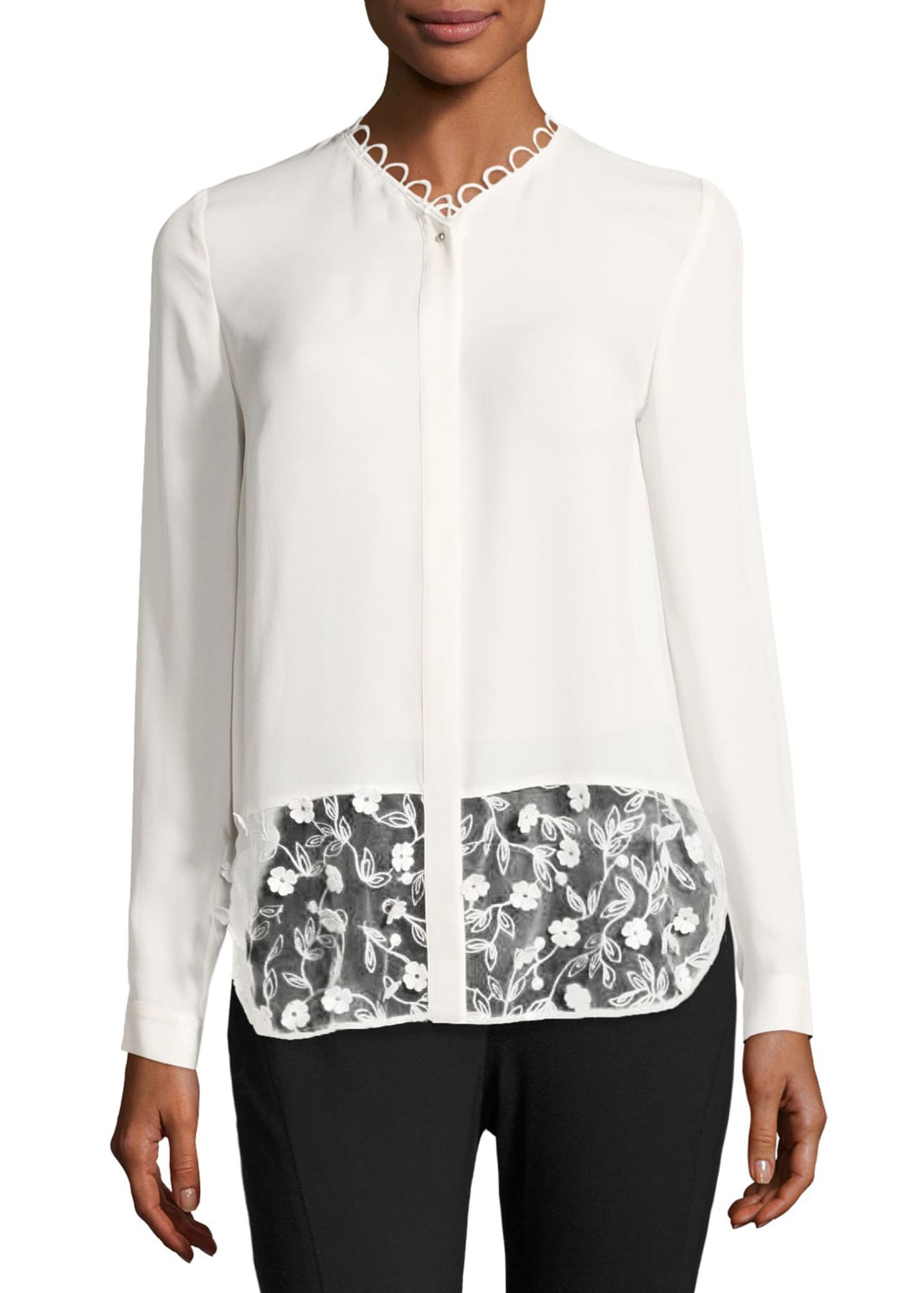 Elie Tahari Constance Long-Sleeve Floral-Applique Silk Blouse