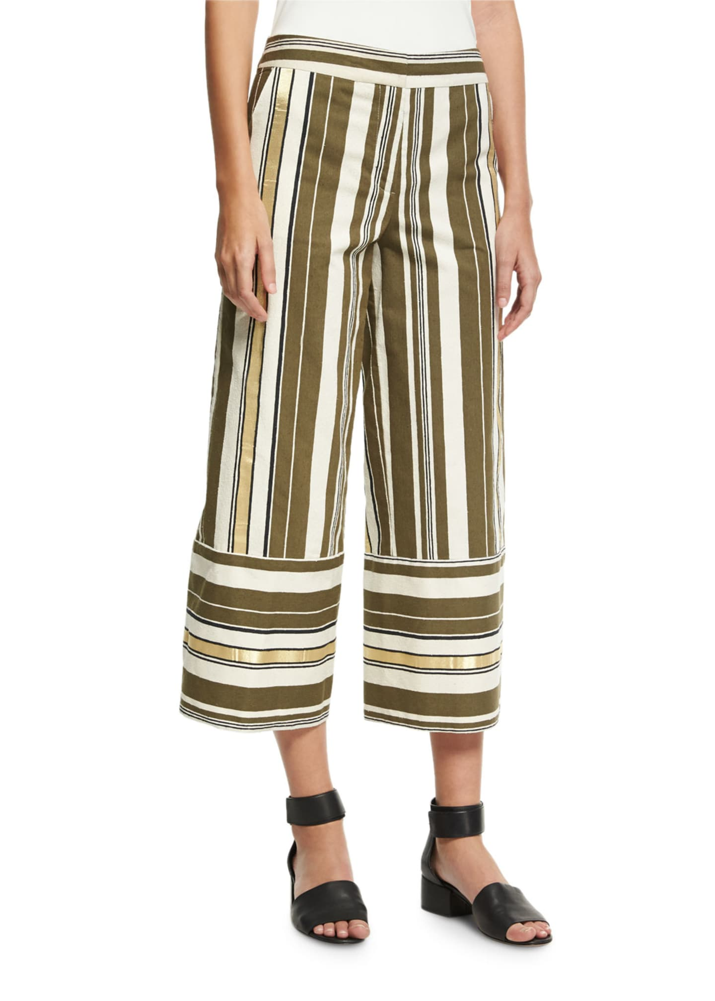 Zeus and Dione Striped Crop-Leg Pants