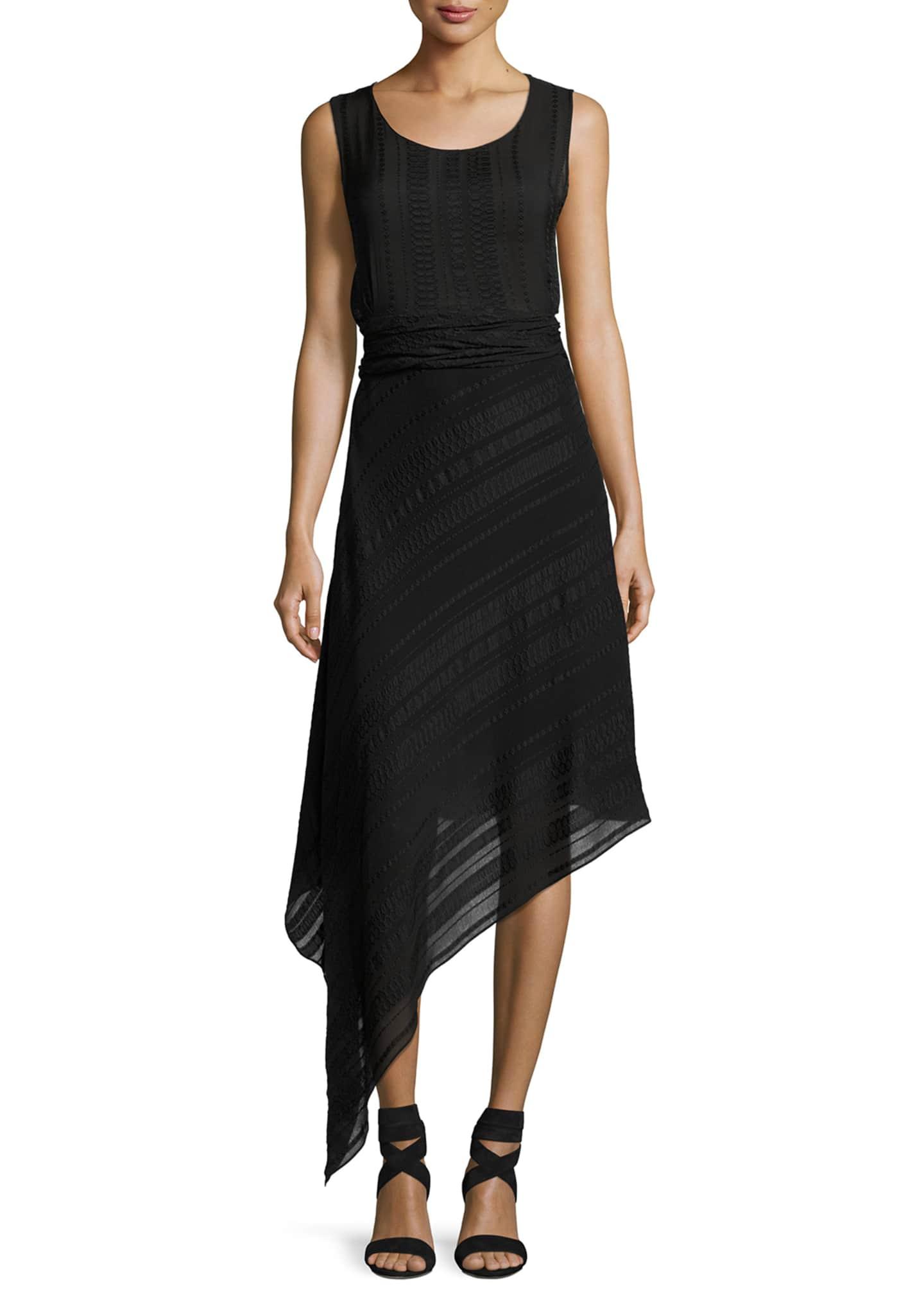 Zeus and Dione Asymmetric Scoop-Neck Midi Dress