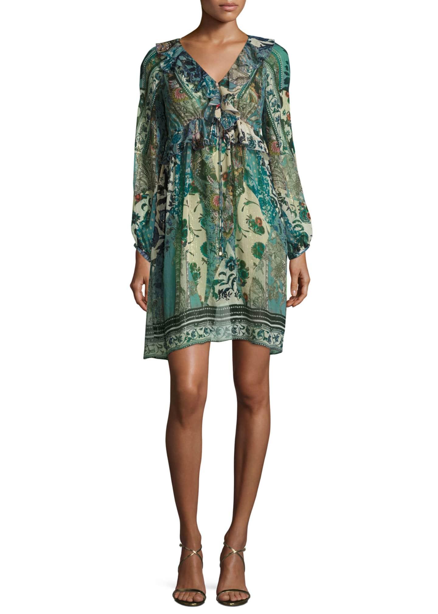 Roberto Cavalli Floral Ruffled V-Neck Dress, Blue