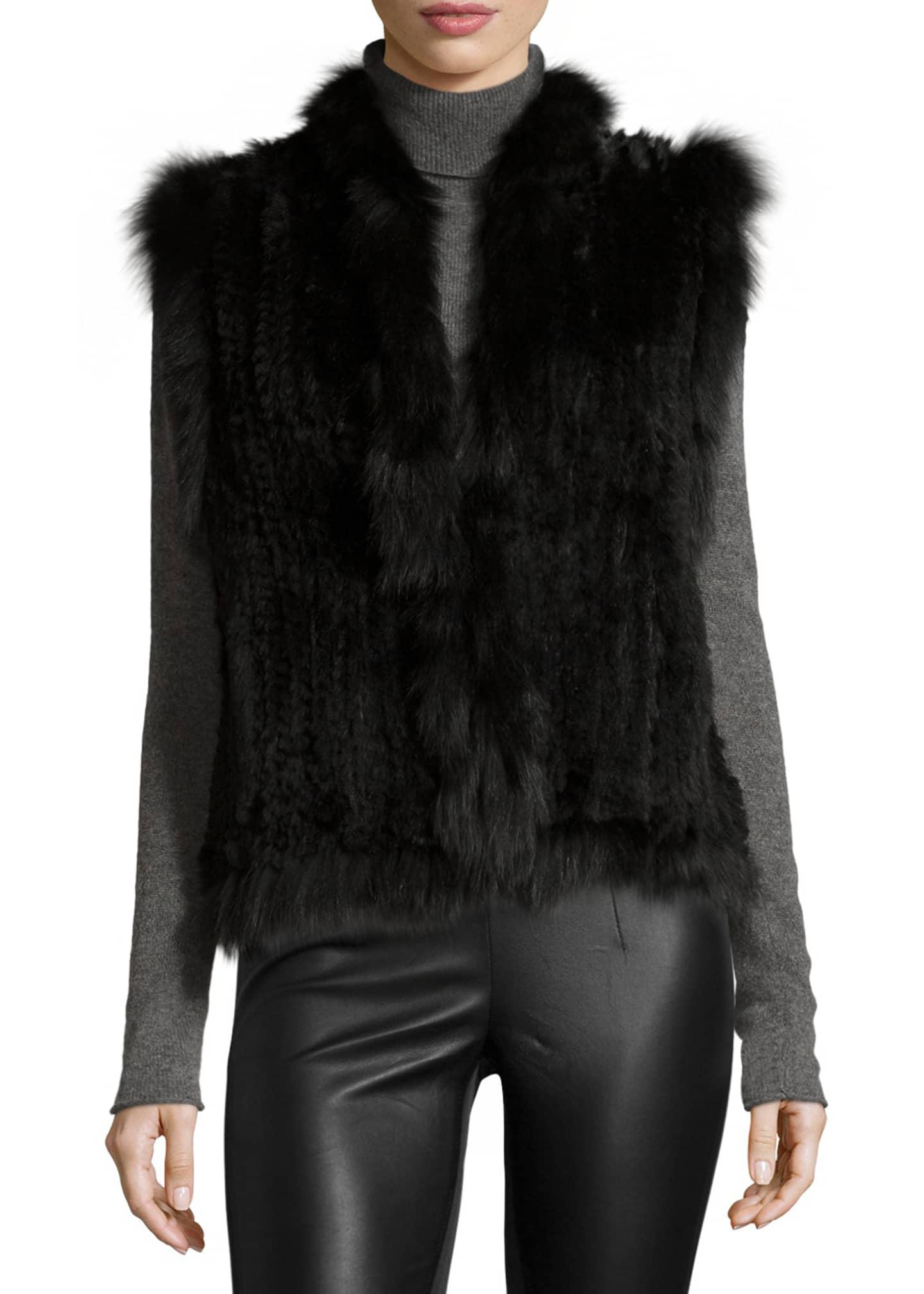 Belle Fare Knitted Rabbit Fur Vest w/Fox Fur