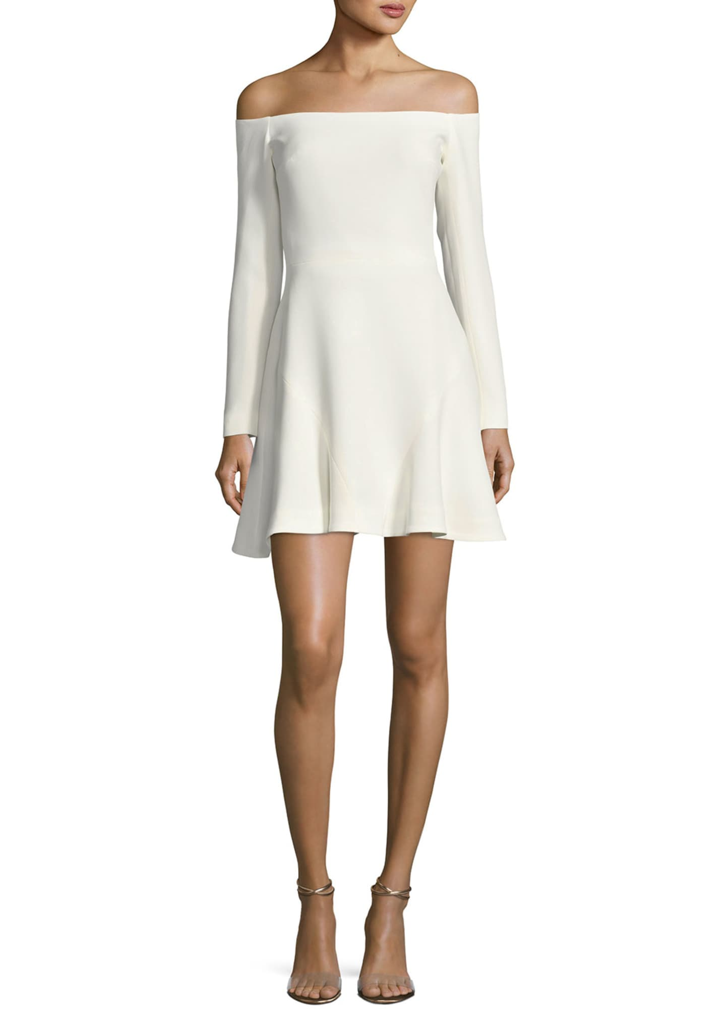 David Koma Stretch-Cady Off-Shoulder Dress, White