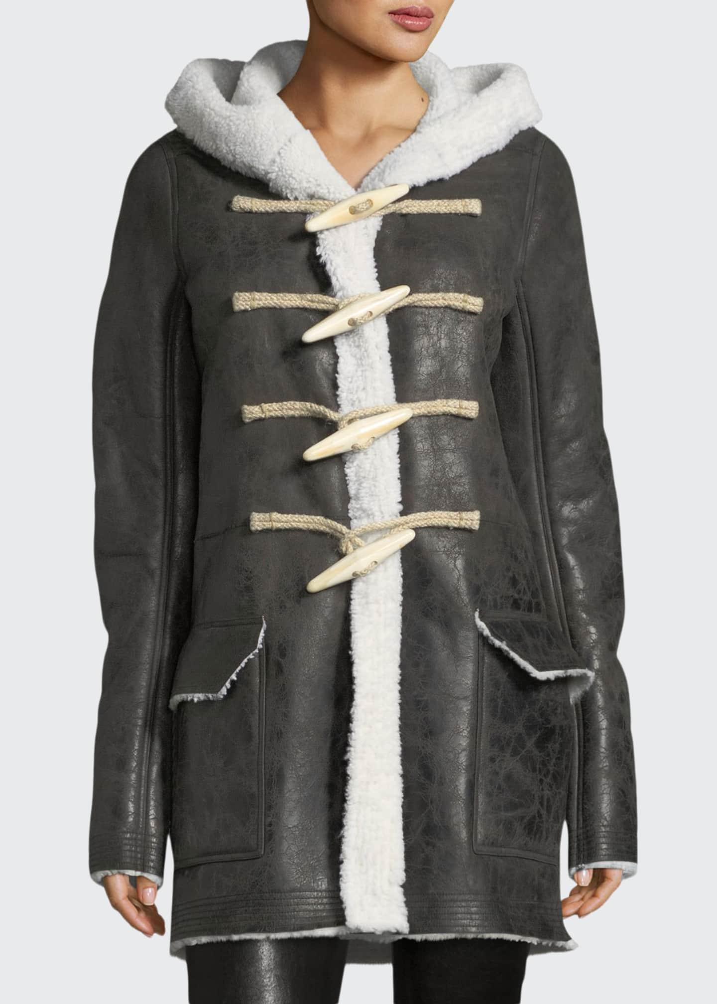 Rick Owens Shearling-Lined Toggle-Front Coat