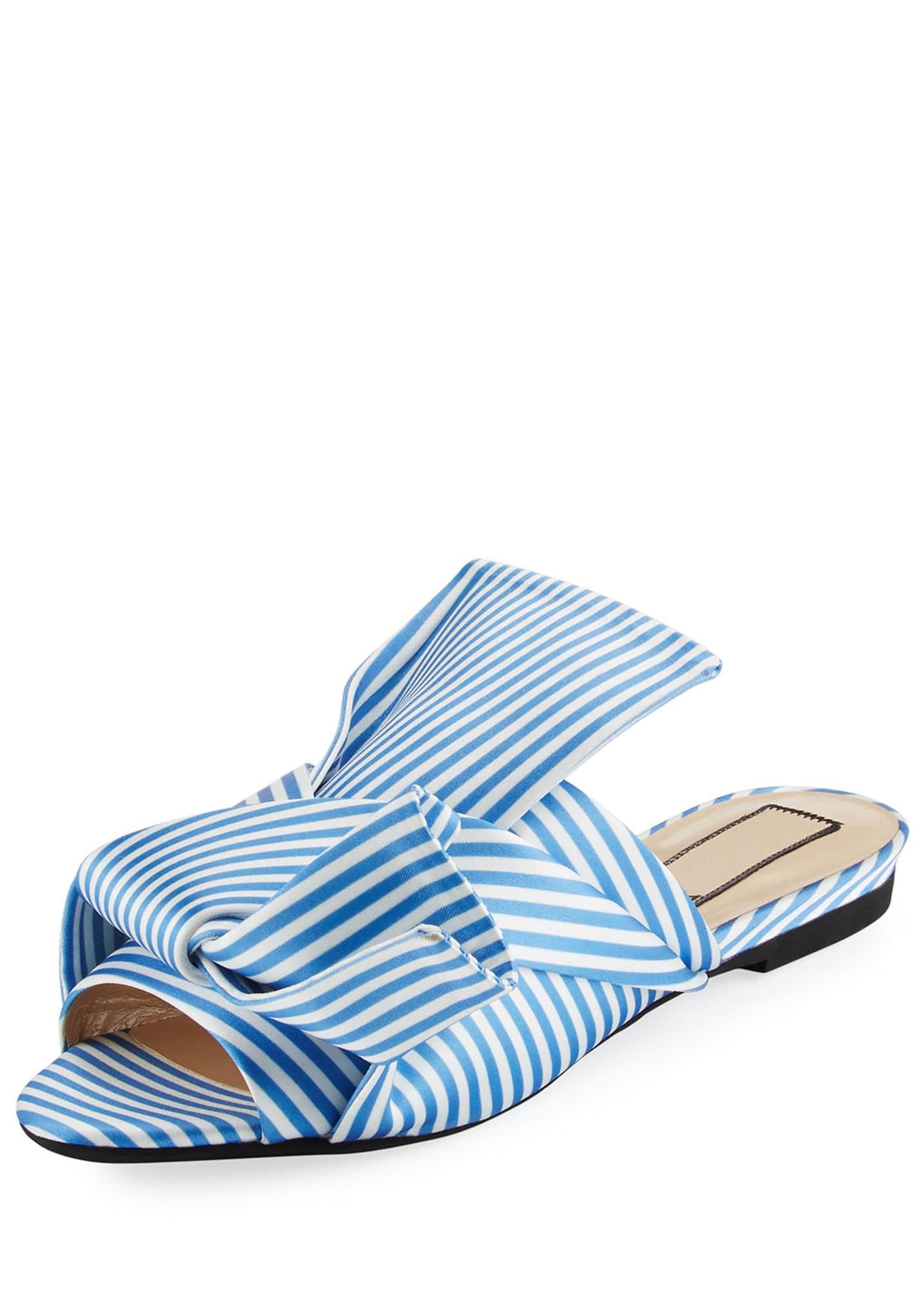 No. 21 Striped Seersucker Satin Slide Sandal, White/Blue