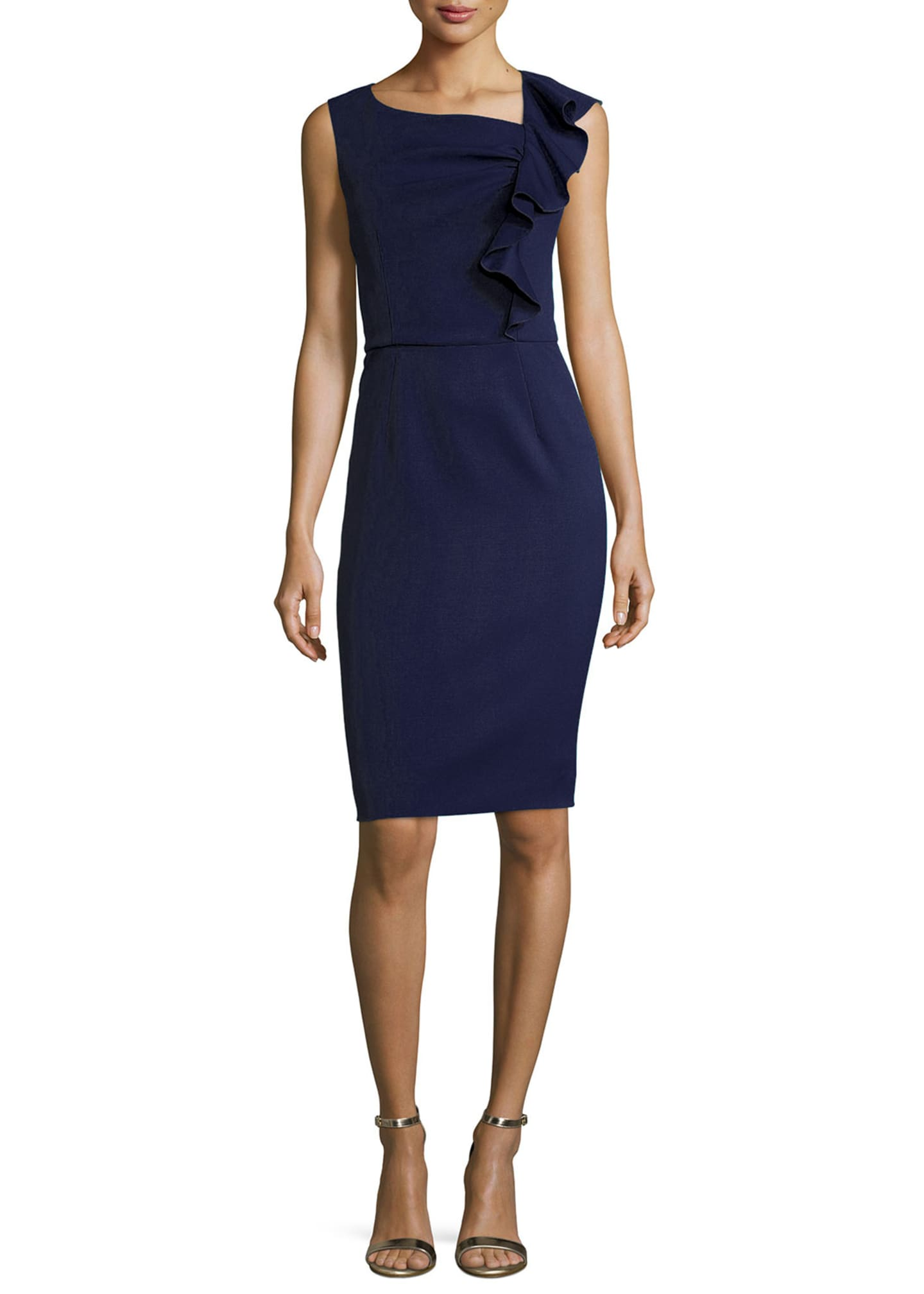 Carolina Herrera Side-Ruffle Sleeveless Cocktail Sheath Dress