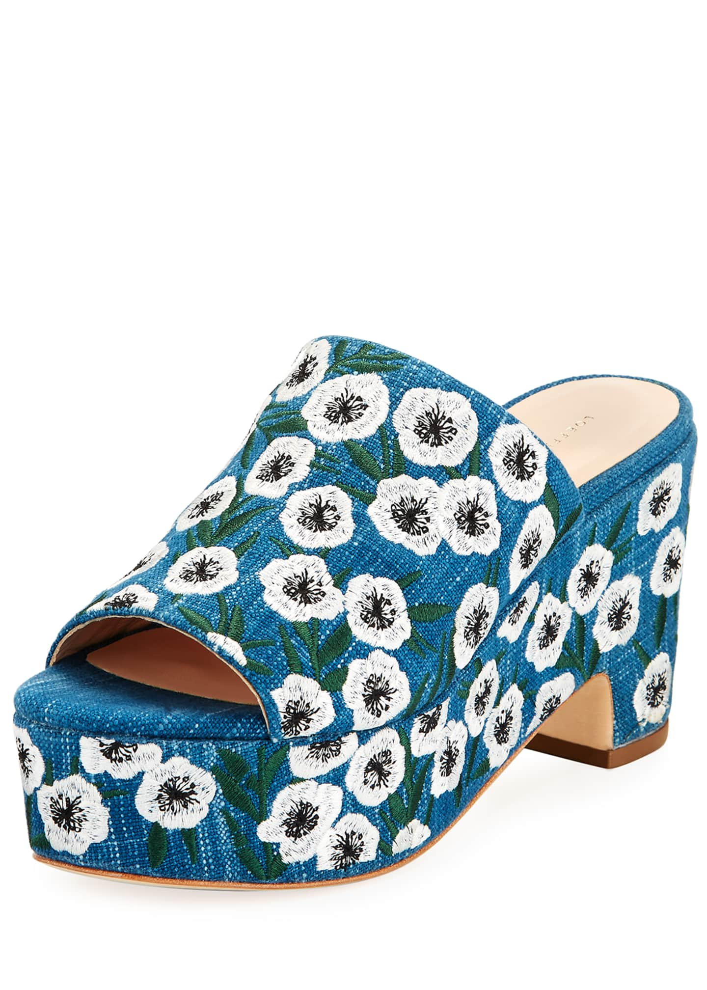 Loeffler Randall Amara Embroidered Denim Mule Sandals, Blue