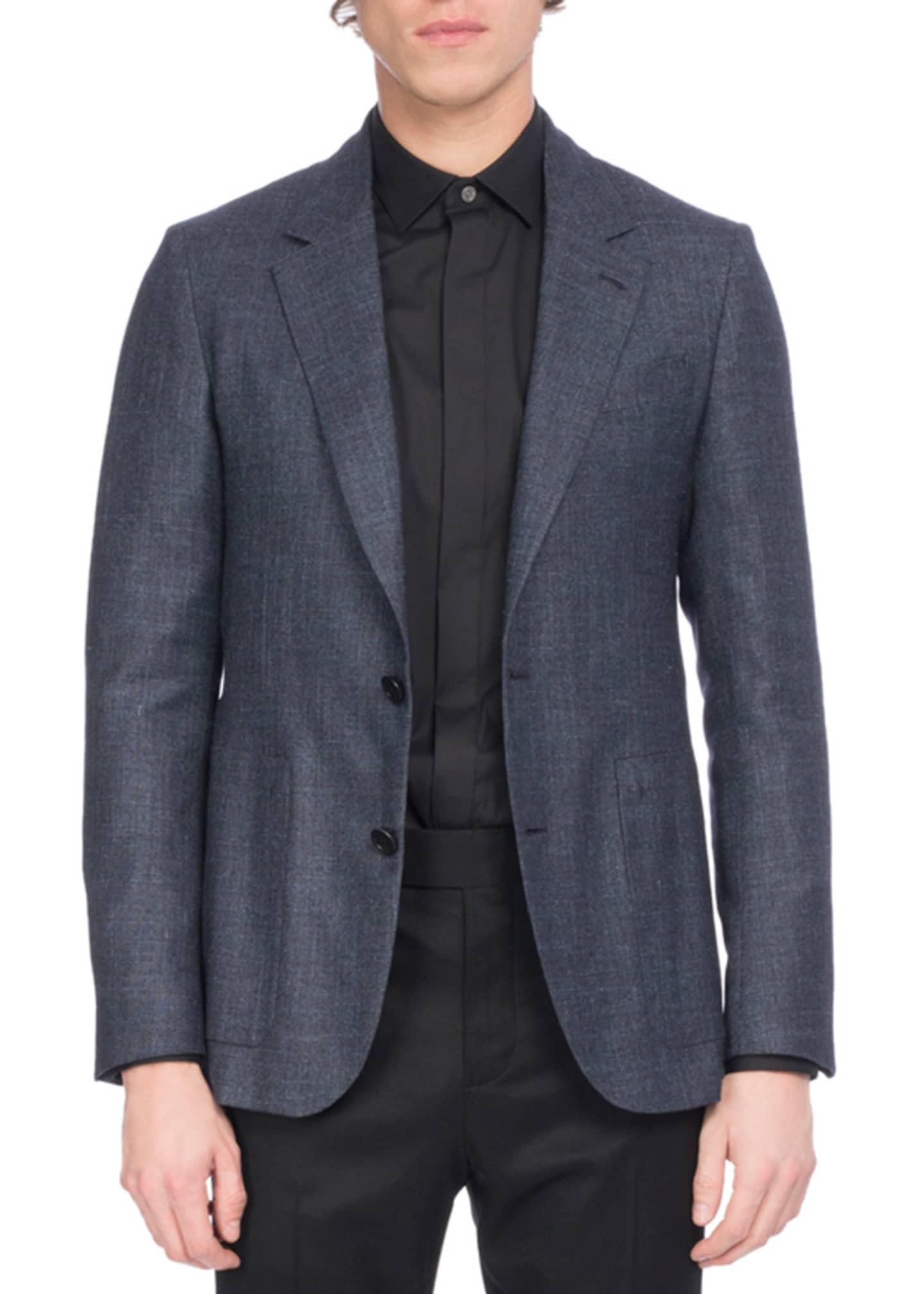 Berluti Wool-Silk-Linen Sport Coat, Navy