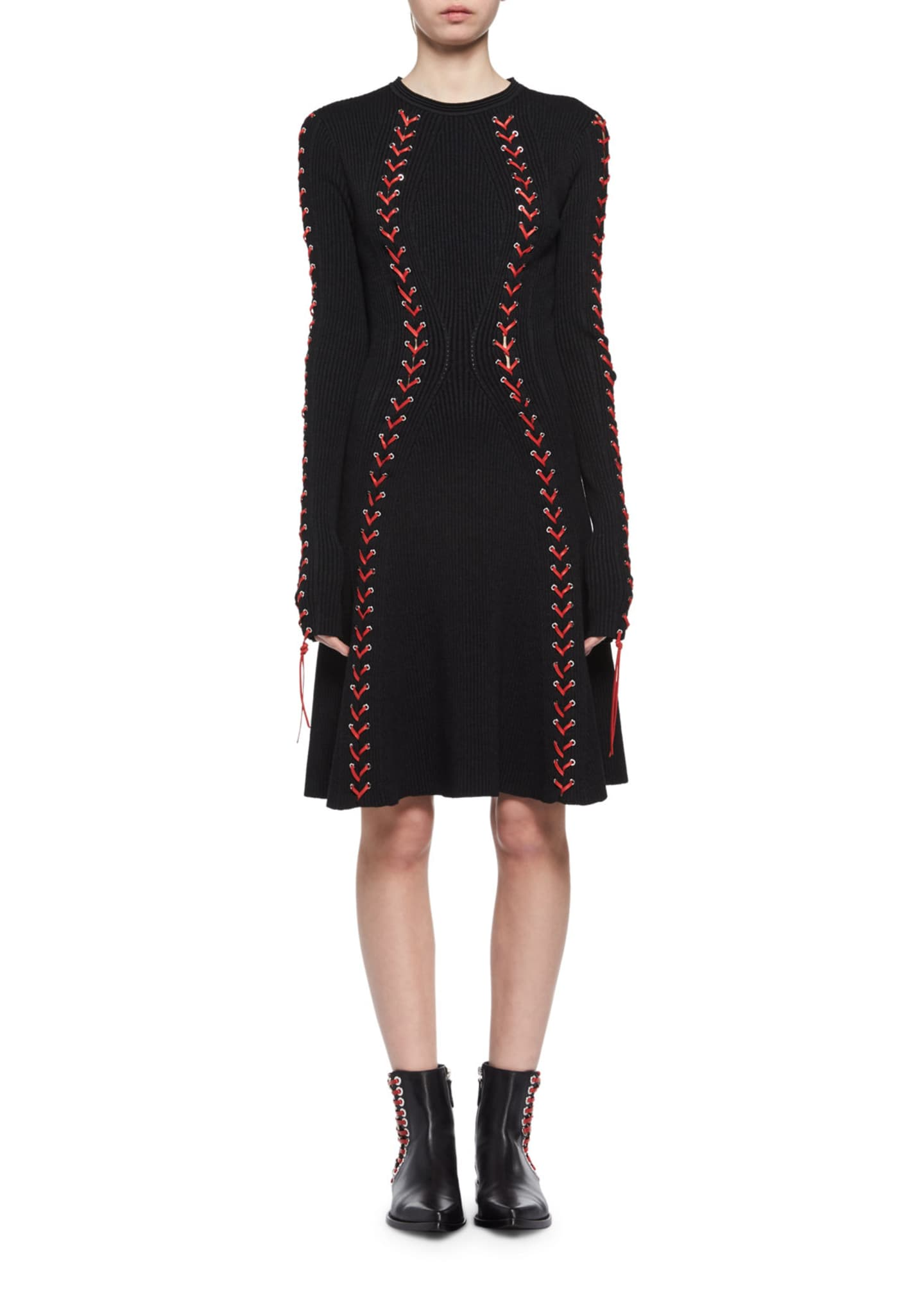 Alexander McQueen Laced Long-Sleeve Knit Dress