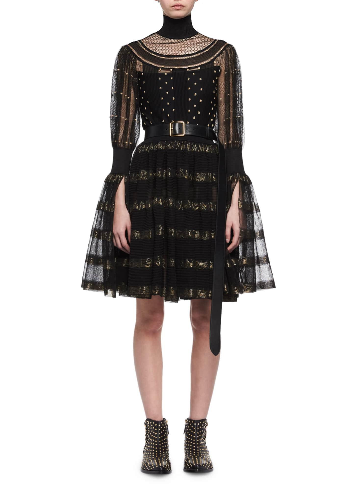 Alexander McQueen Metallic-Striped Lace Cocktail Dress, Black/Gold