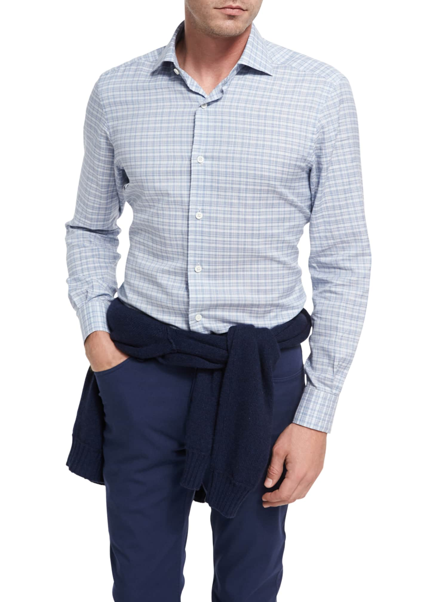 Ermenegildo Zegna Plaid Cotton Shirt, Light Blue/White